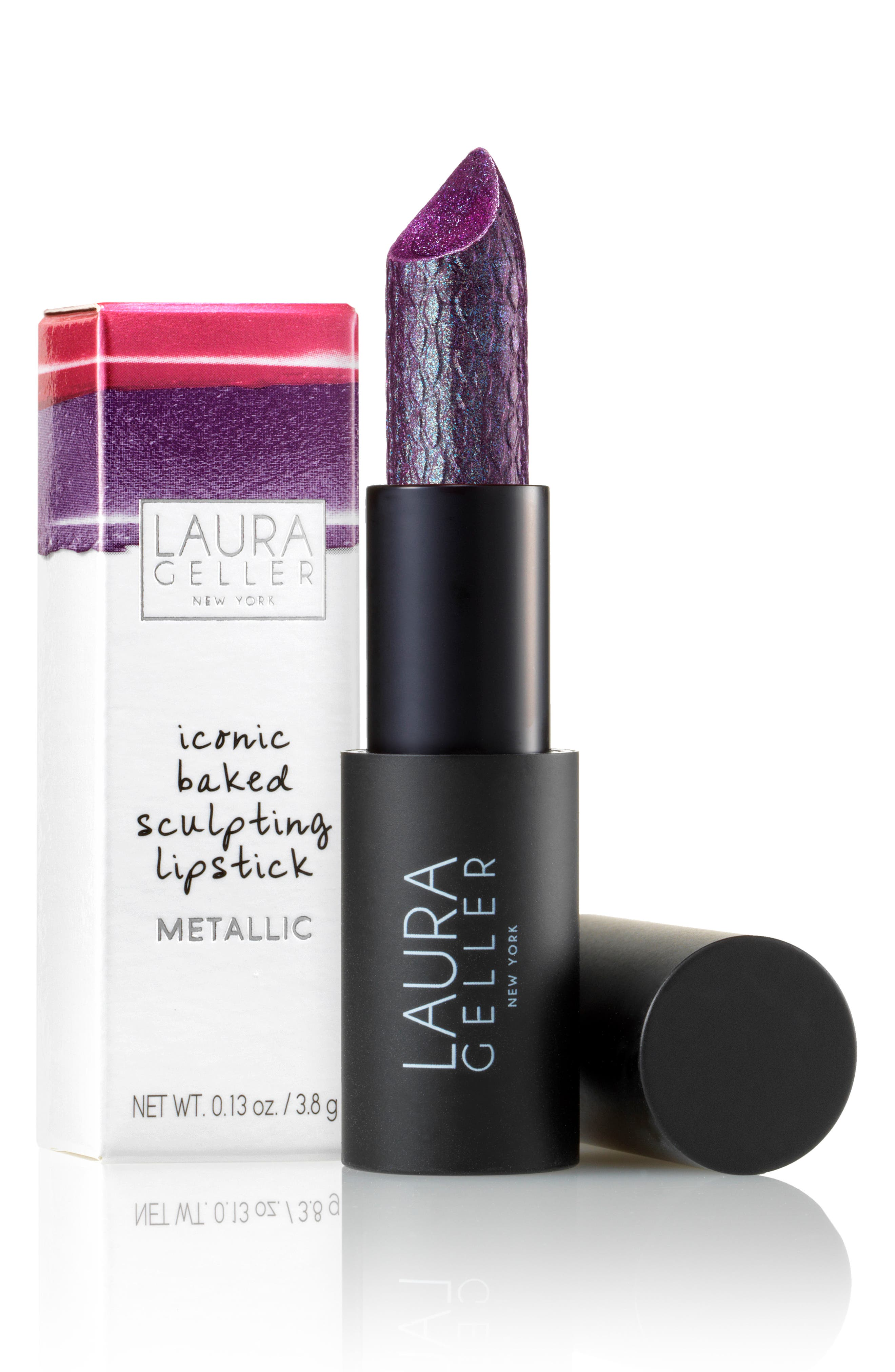 LAURA GELLER BEAUTY, Iconic Baked Metallic Sculpting Lipstick, Alternate thumbnail 2, color, BROADWAY GLITZ