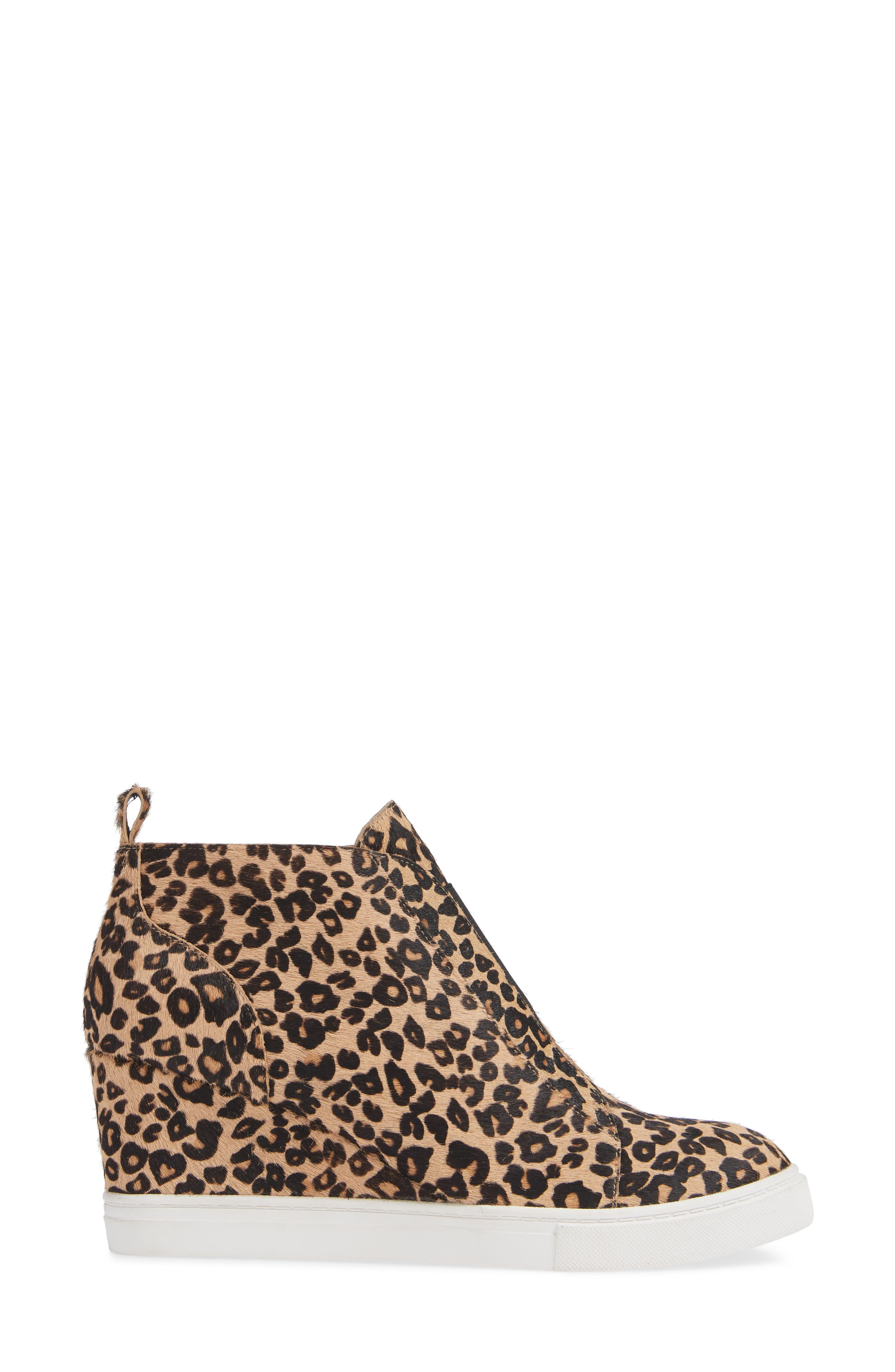 LINEA PAOLO, Felicia III Genuine Calf Hair Wedge Sneaker, Alternate thumbnail 3, color, LEOPARD PRINT HAIR CALF