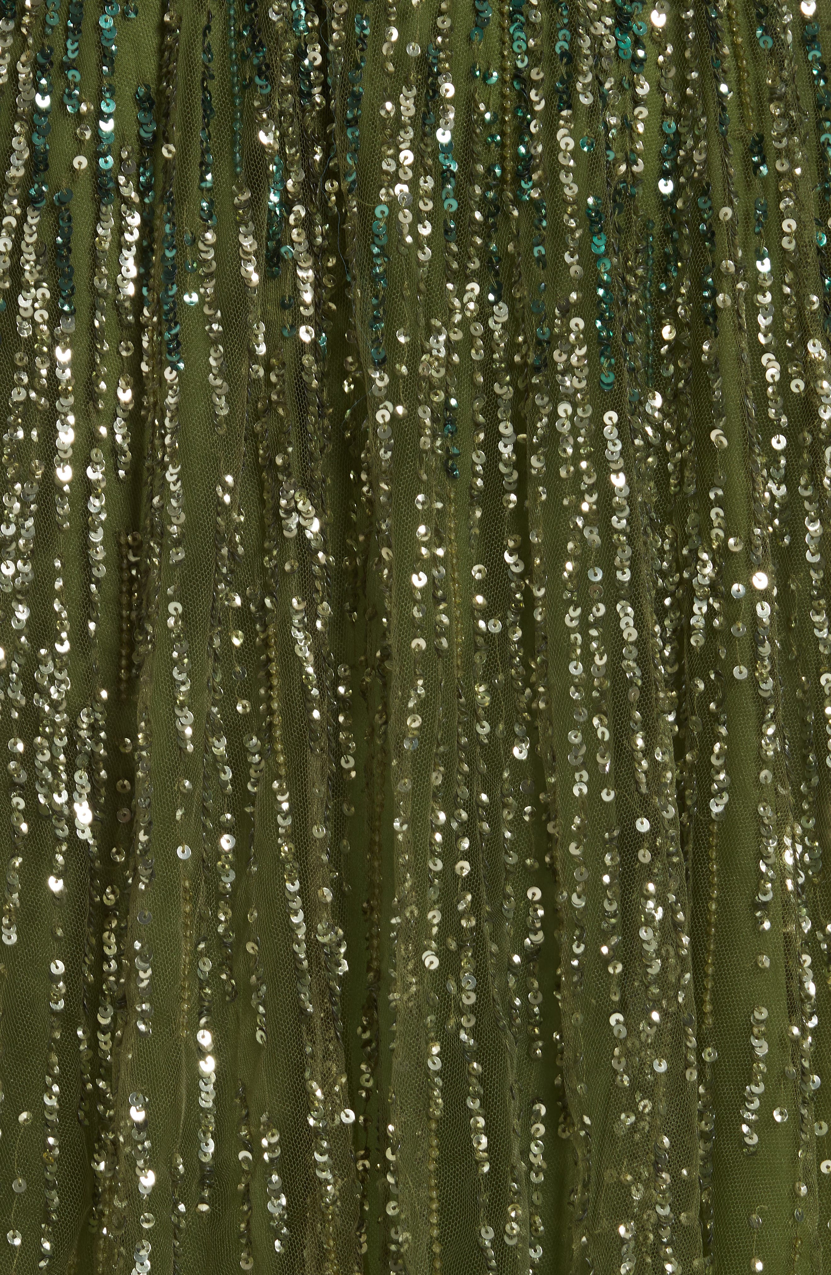 PAMELLA ROLAND, Crystal Embellished A-Line Gown, Alternate thumbnail 7, color, SAGE MULTI