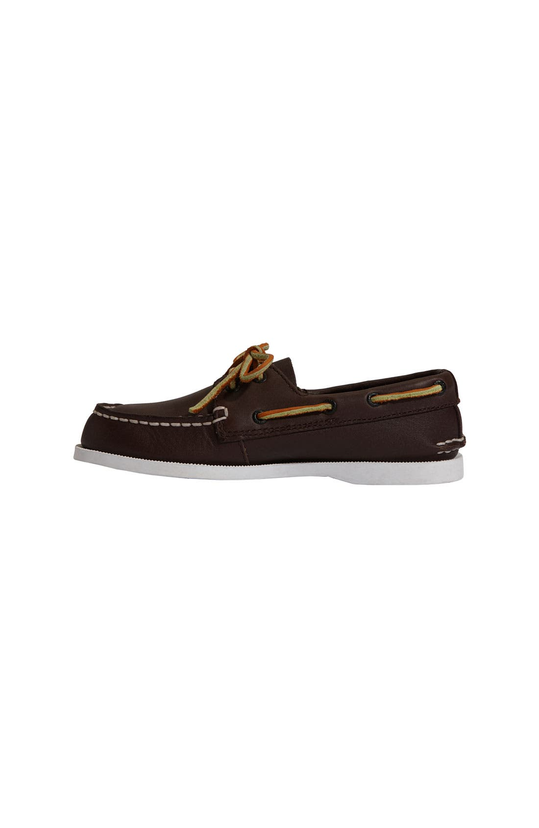 SPERRY KIDS, 'Authentic Original' Boat Shoe, Alternate thumbnail 8, color, BROWN LEATHER