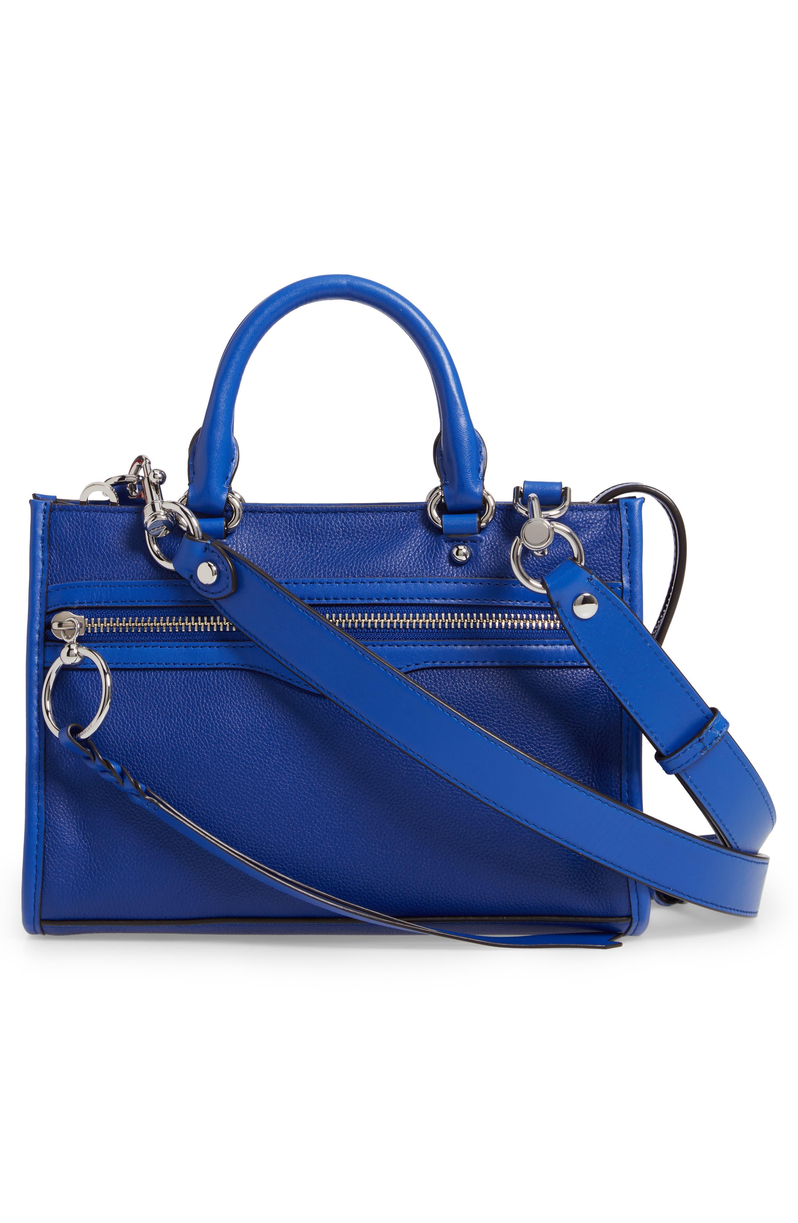 REBECCA MINKOFF, Micro Bedford Leather Satchel, Alternate thumbnail 4, color, BRIGHT BLUE
