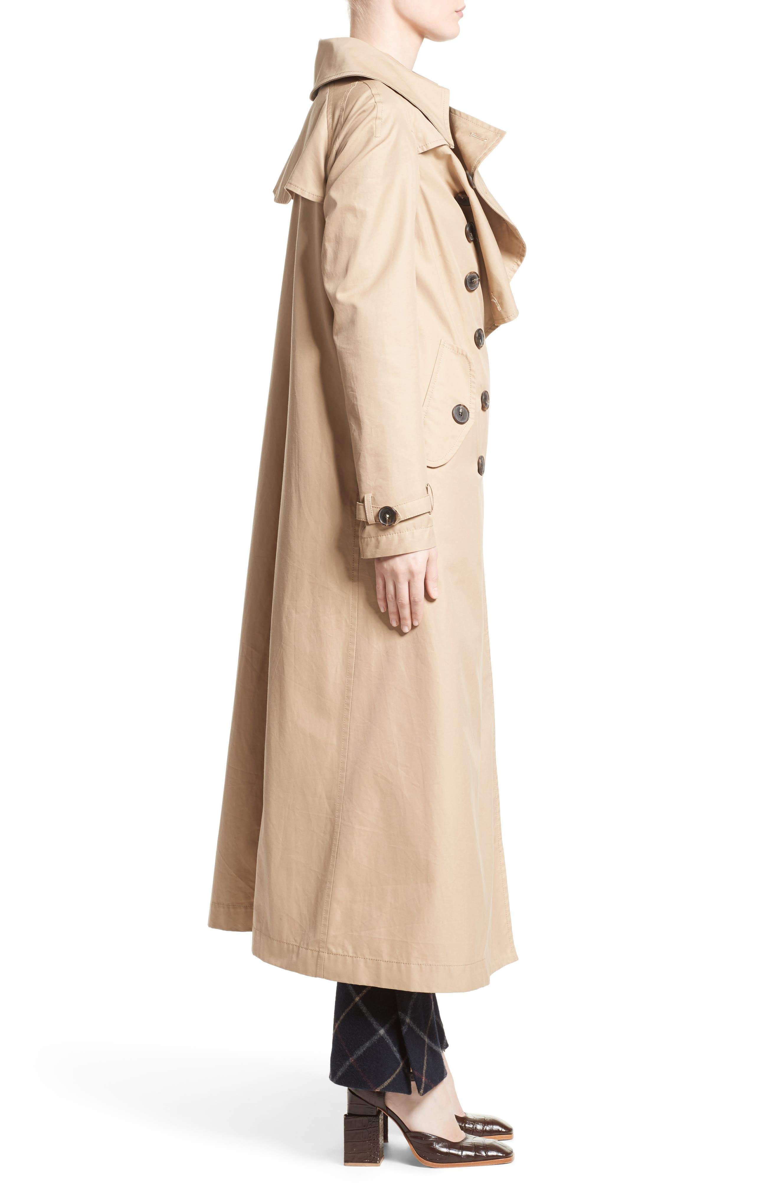 A.W.A.K.E., Oversized Cotton Trench Coat, Alternate thumbnail 3, color, 250