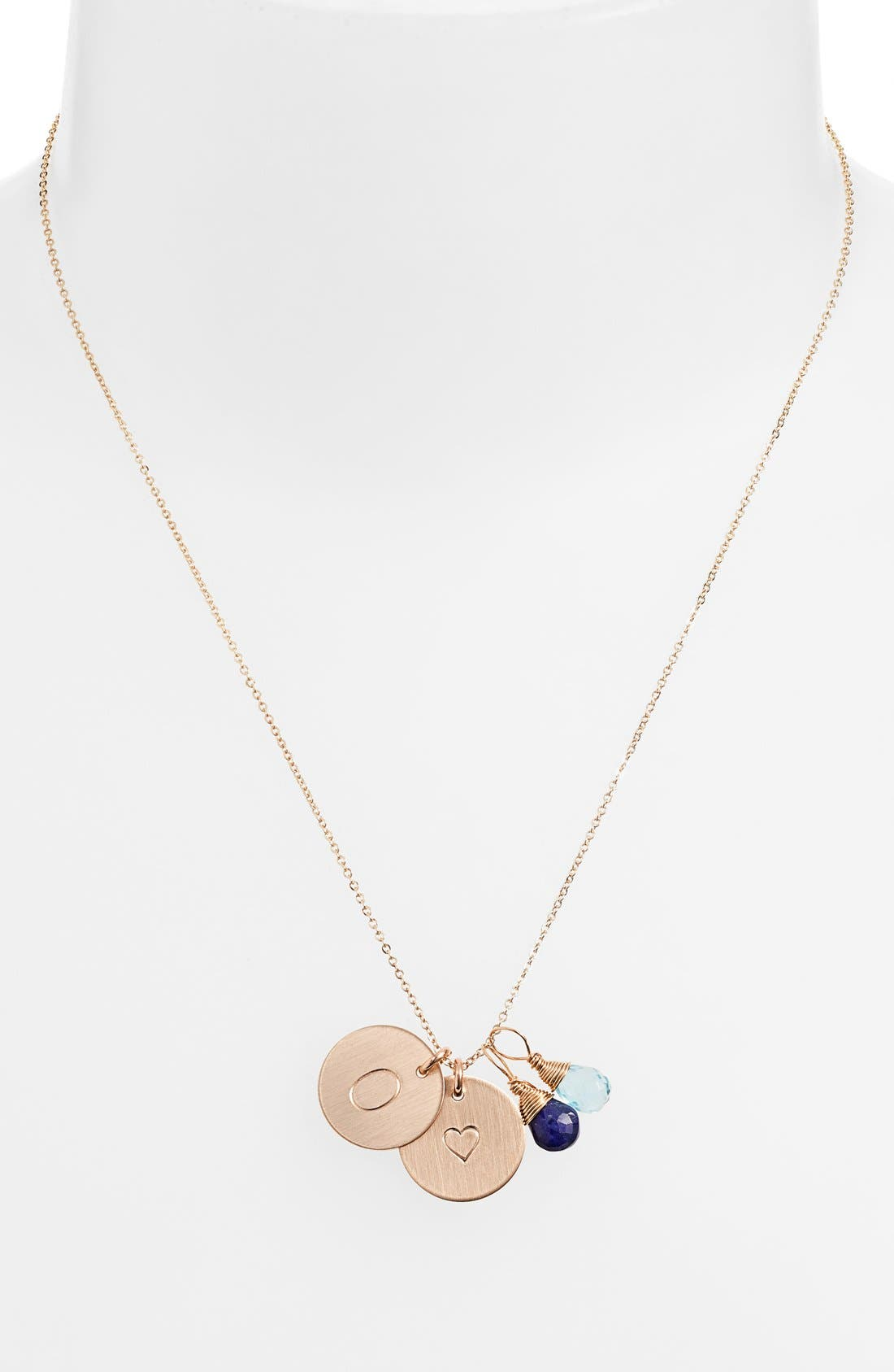 NASHELLE, Blue Quartz Initial & Heart 14k-Gold Fill Disc Necklace, Alternate thumbnail 2, color, ROYAL BLUE AND OCEAN BLUE O