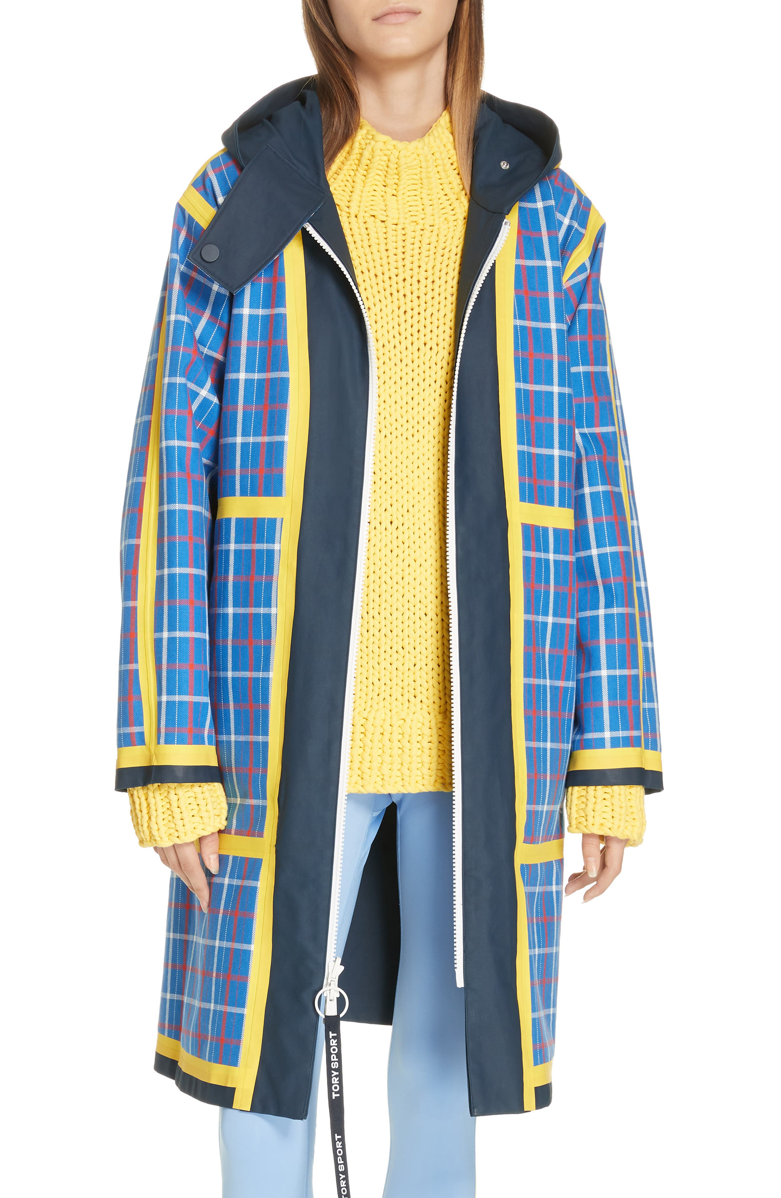 TORY SPORT, Reversible Coated Canvas Rain Coat, Main thumbnail 1, color, TANDEM PLAID LARGE SURF BLUE