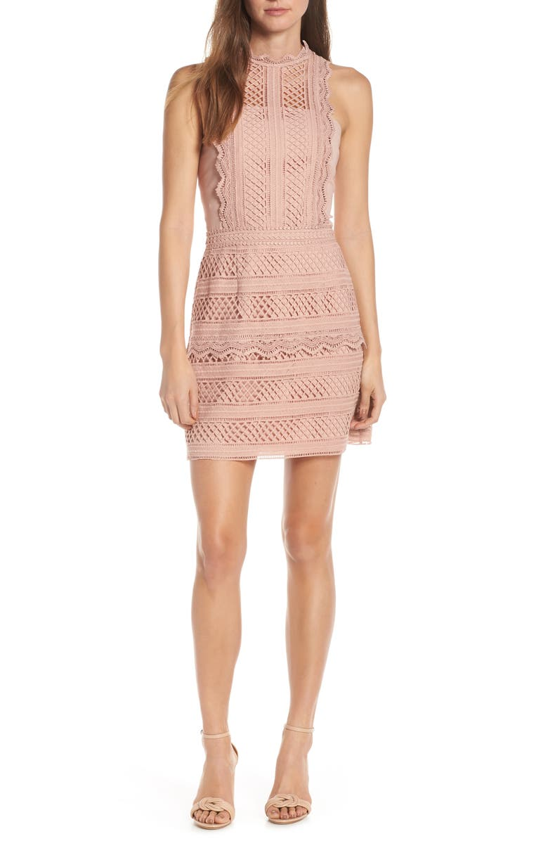 Adelyn Rae Dresses NOELLE MOCK NECK LACE DRESS