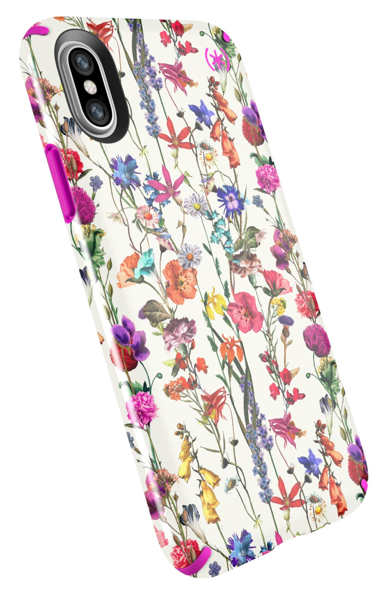 SPECK, Presidio Inked iPhone X & Xs Case, Alternate thumbnail 4, color, WHITEFLOWERS/ LIPSTICK PINK