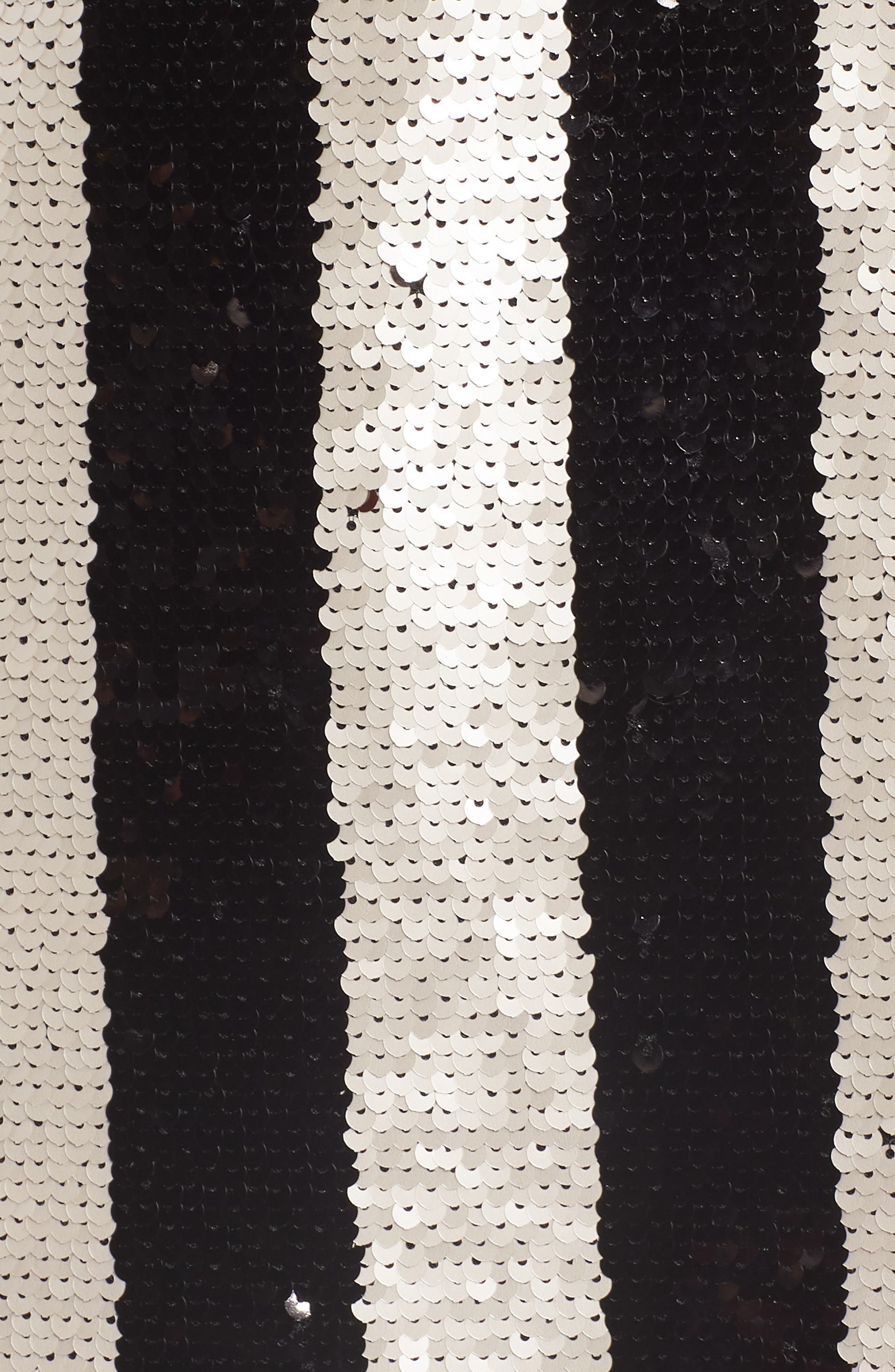 CUPCAKES AND CASHMERE, Vertical Sequin Stripe Dress, Alternate thumbnail 6, color, BLACK