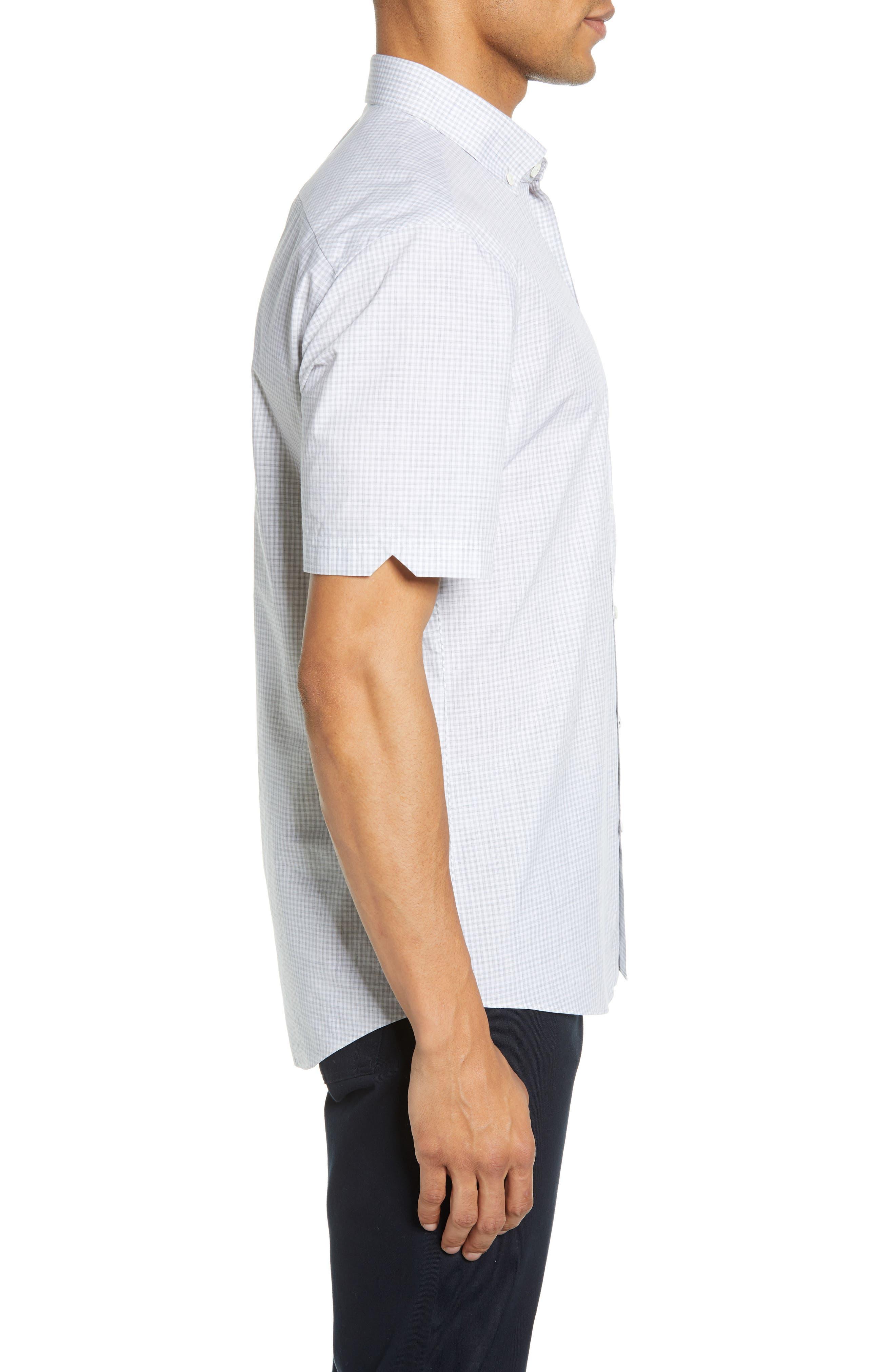 ZACHARY PRELL, Cechini Regular Fit Short Sleeve Sport Shirt, Alternate thumbnail 4, color, LT GREY