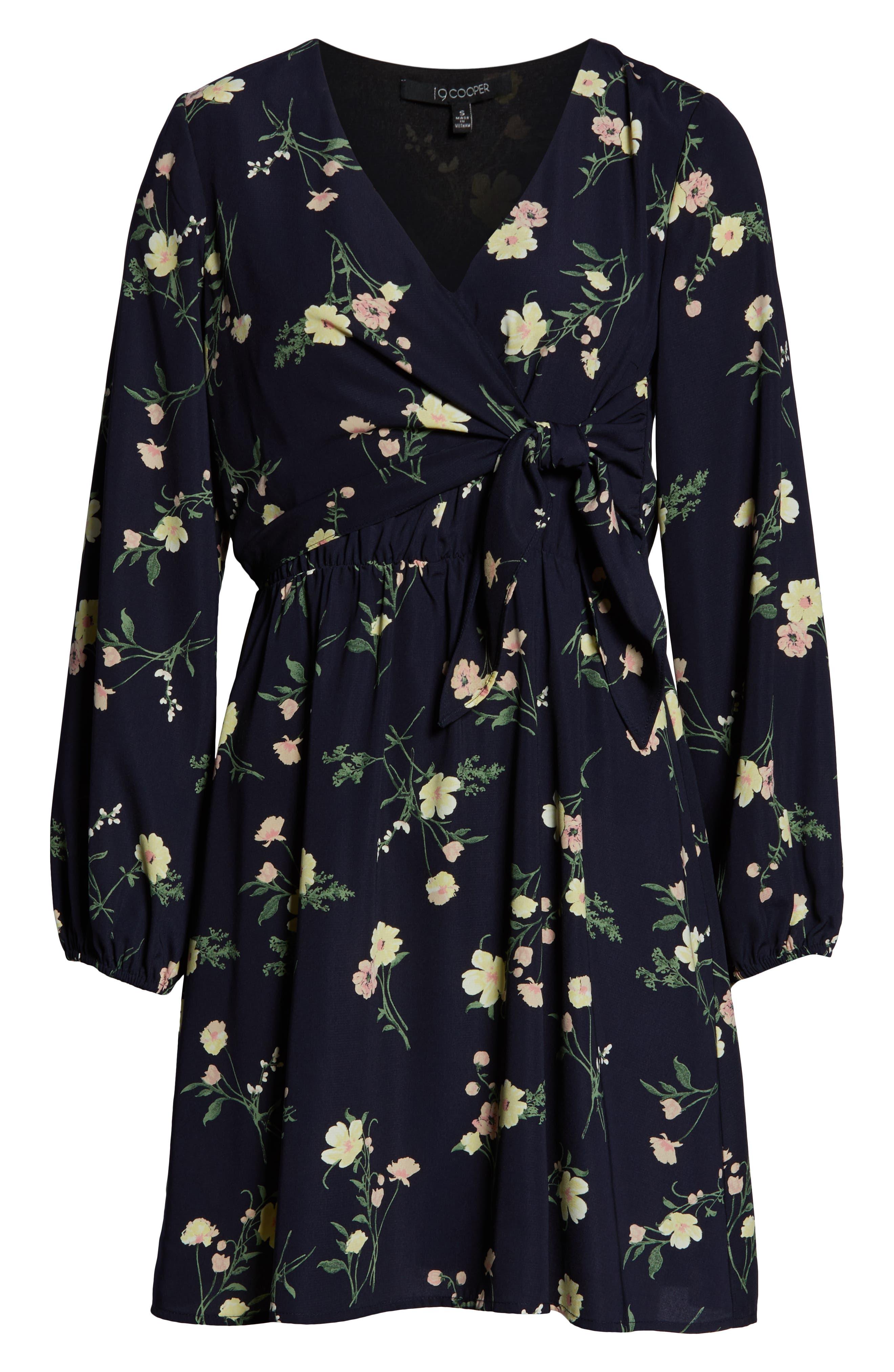 19 COOPER, Long Sleeve Floral Dress, Alternate thumbnail 7, color, NAVY FLORAL