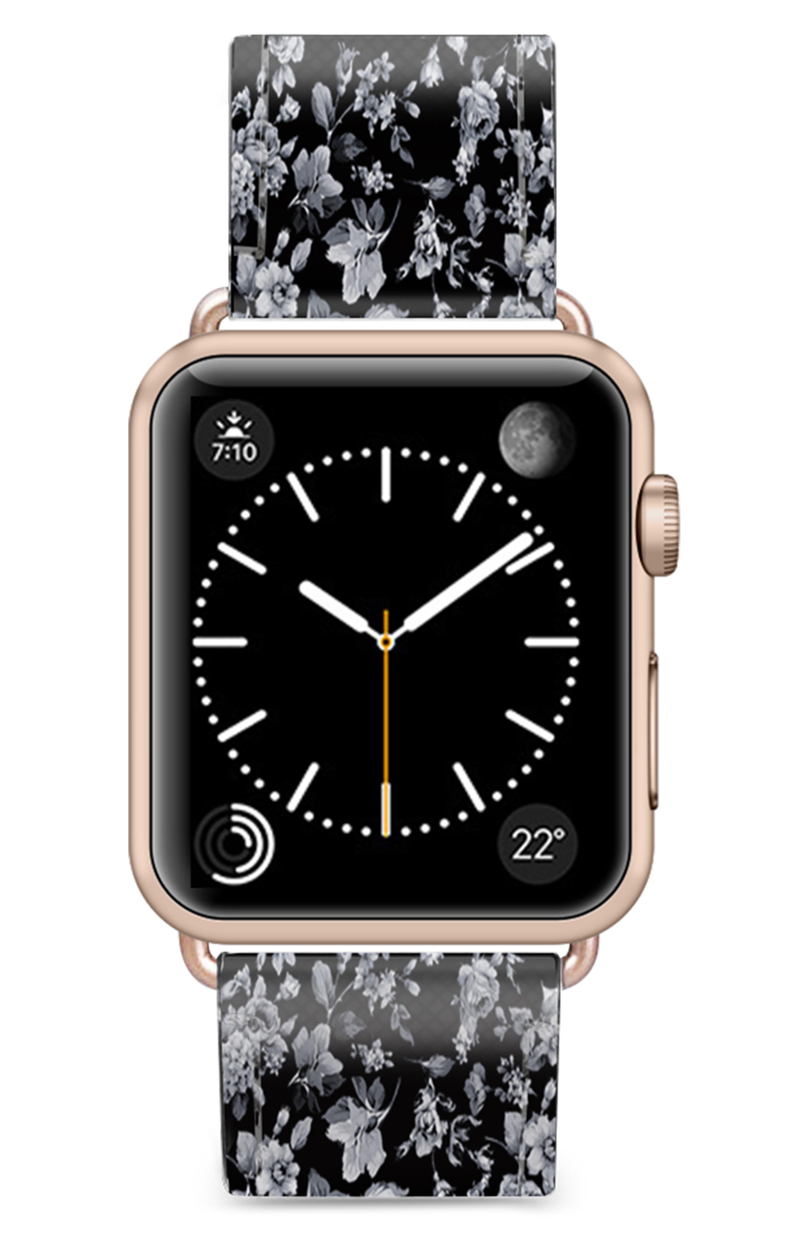 CASETIFY, Vintage Flowers Saffiano Faux Leather Apple Watch Strap, Main thumbnail 1, color, BLACK/ ROSE GOLD