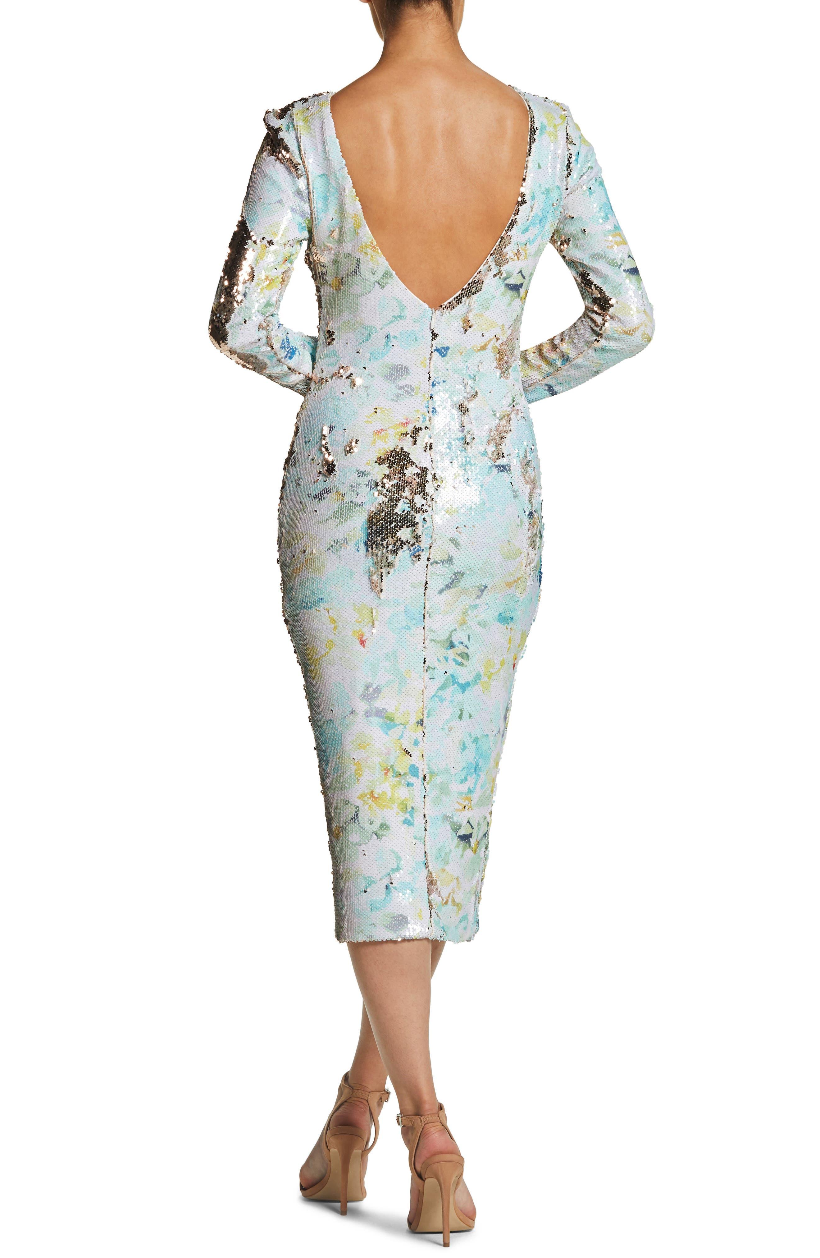 DRESS THE POPULATION, Natalie Scoop Back Sequin Dress, Alternate thumbnail 2, color, IVORY/ SAGE/ GOLD