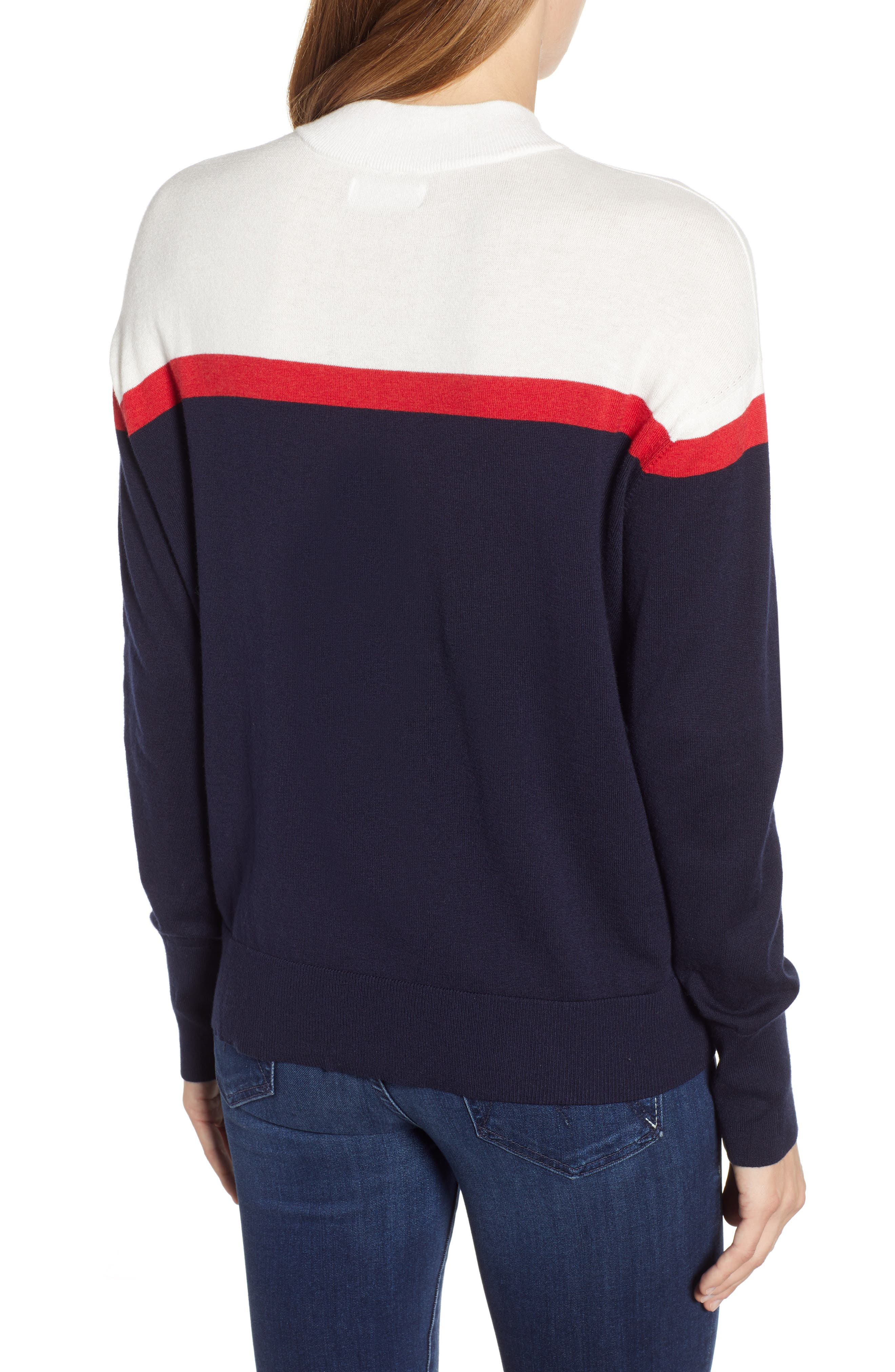 VELVET BY GRAHAM & SPENCER, Stripe Mock Neck Cotton & Cashmere Sweater, Alternate thumbnail 2, color, MULTI