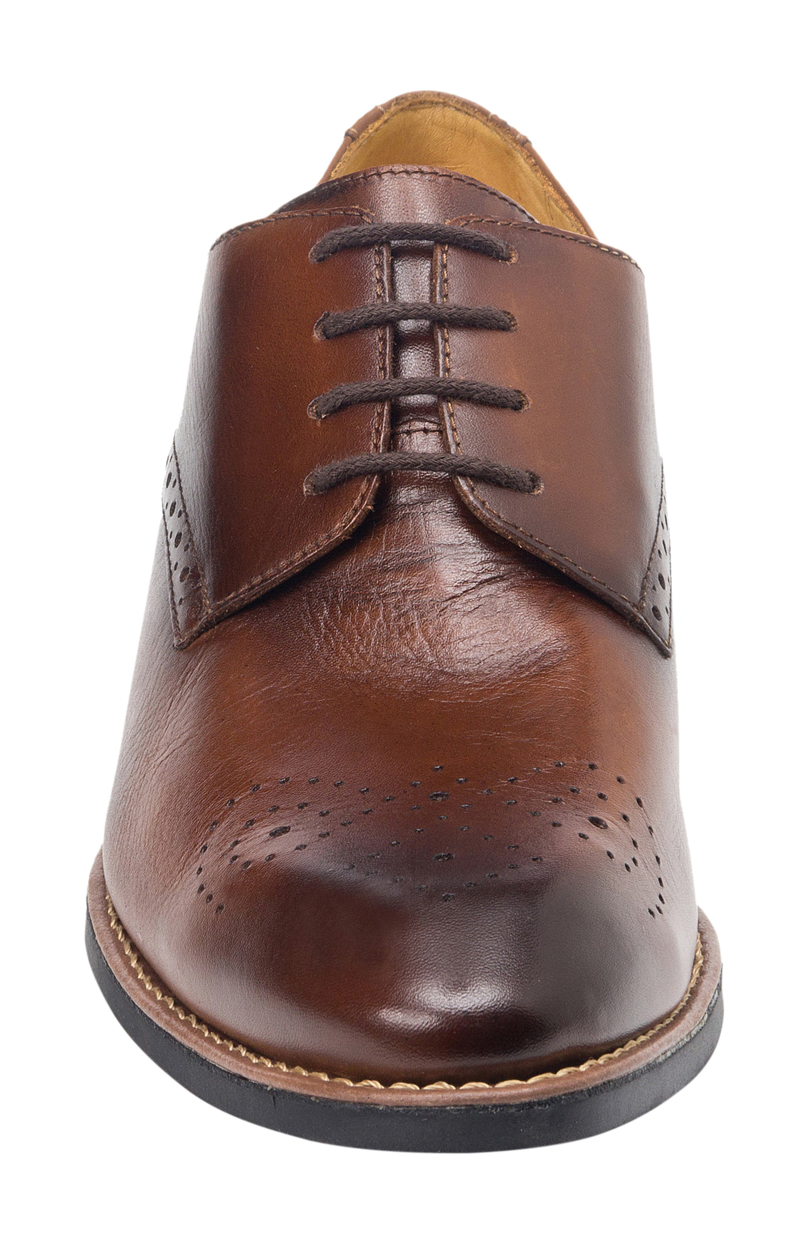 SANDRO MOSCOLONI, Mended Medallion Toe Derby, Alternate thumbnail 4, color, BROWN LEATHER