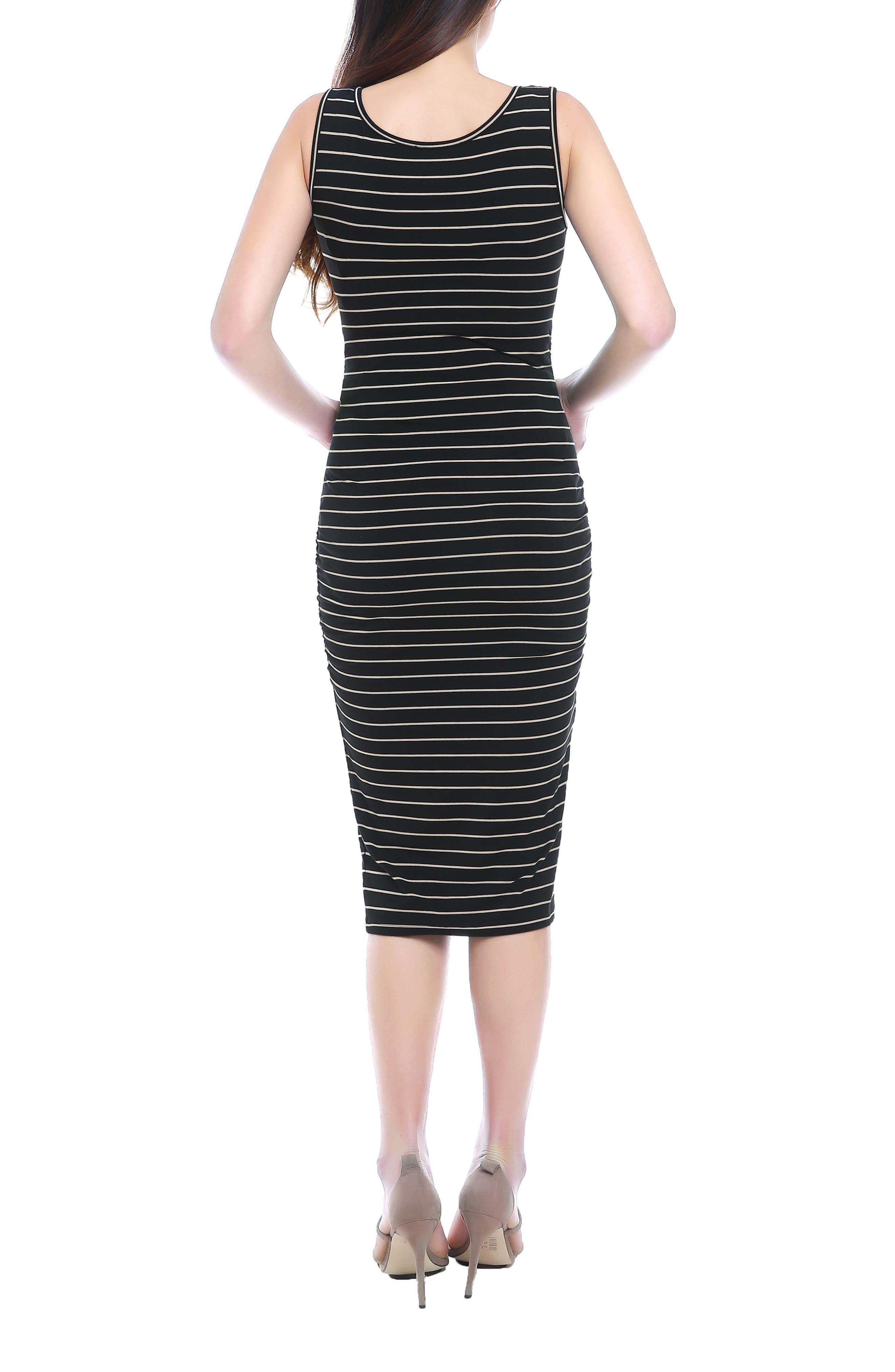 KIMI AND KAI, Tobi Stripe Maternity Dress, Alternate thumbnail 2, color, BLACK/ BEIGE