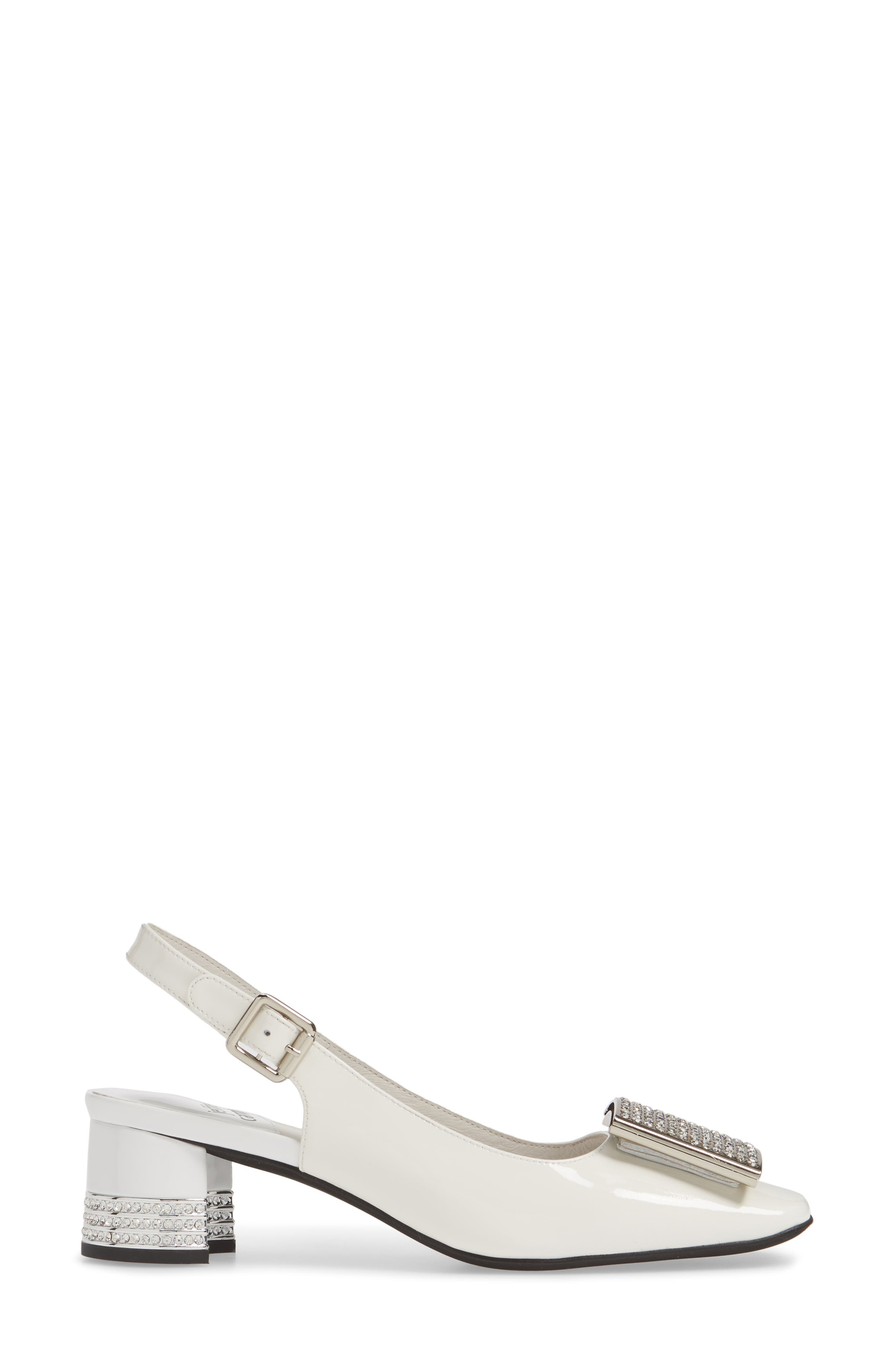 JEFFREY CAMPBELL, Billion Jewel Slingback Pump, Alternate thumbnail 3, color, WHITE PATENT LEATHER/ SILVER