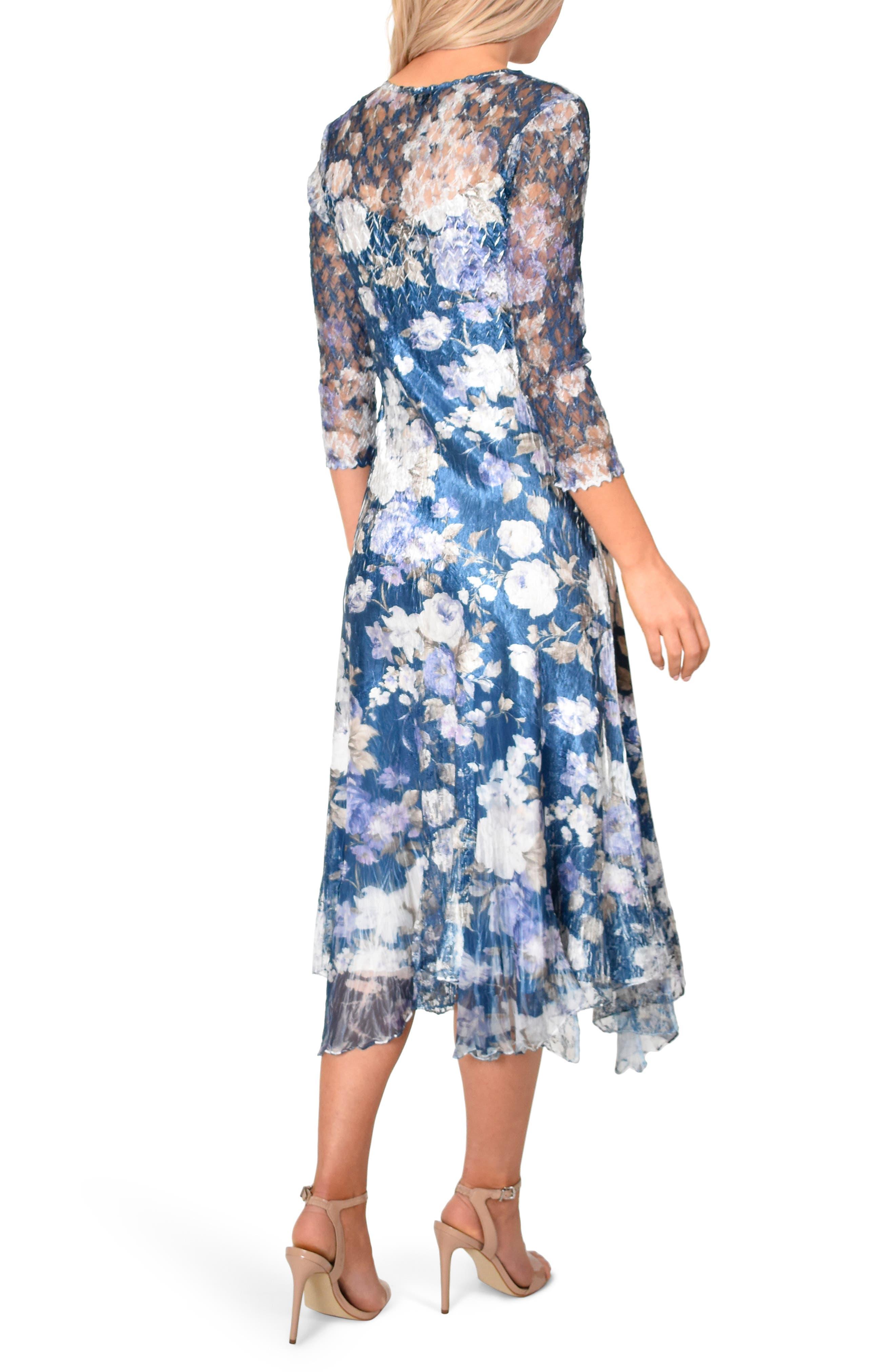 KOMAROV, Floral Charmeuse & Chiffon Dress, Alternate thumbnail 2, color, OLENADER NIGHT