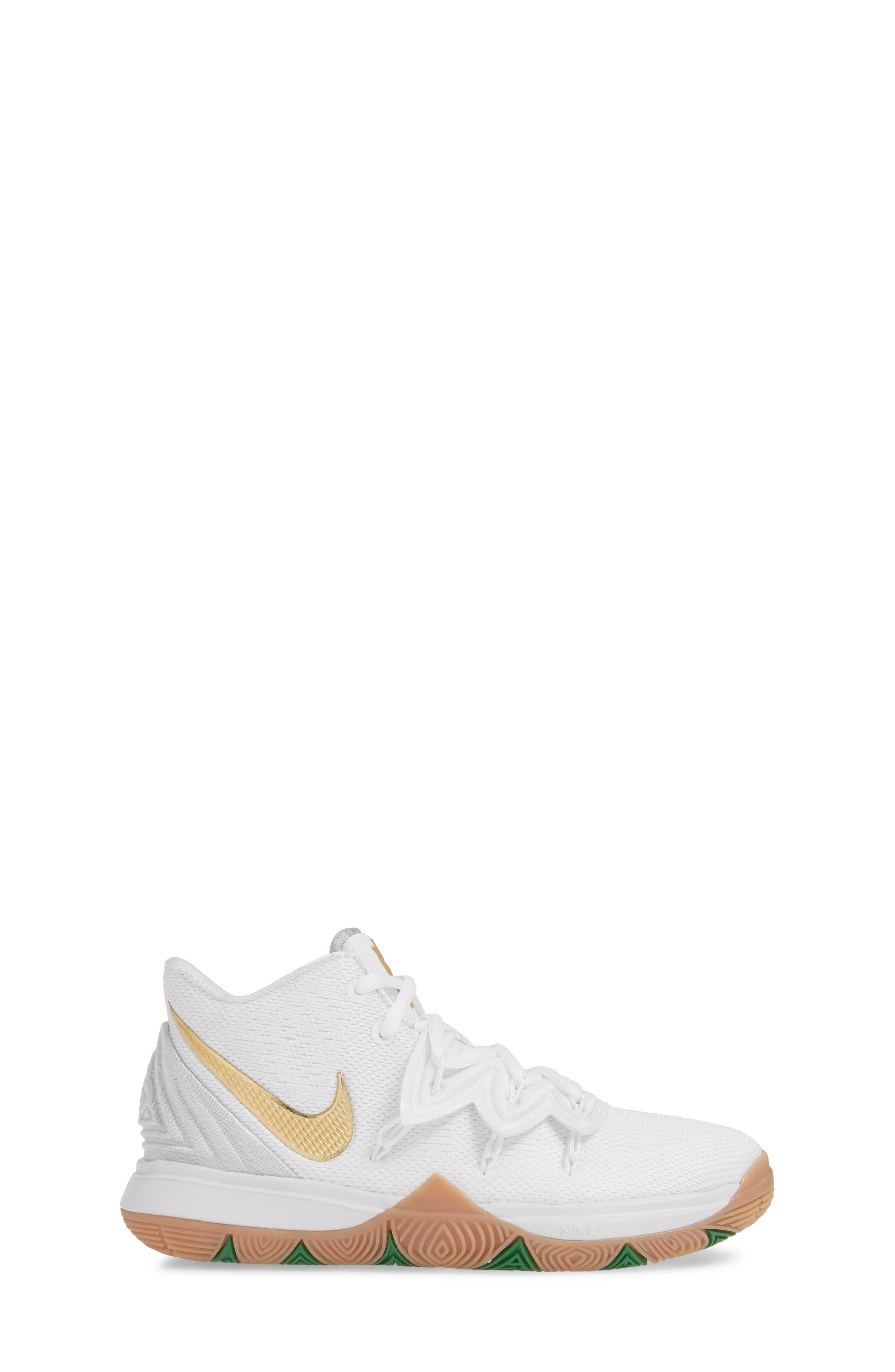 NIKE, Kyrie 5 Basketball Shoe, Alternate thumbnail 3, color, WHITE/ METALLIC GOLD-PLATINUM