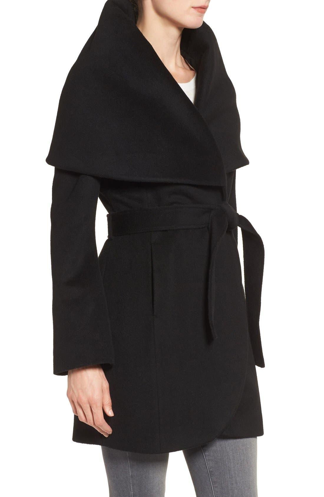 TAHARI, T Tahari Wool Blend Belted Wrap Coat, Alternate thumbnail 4, color, 001