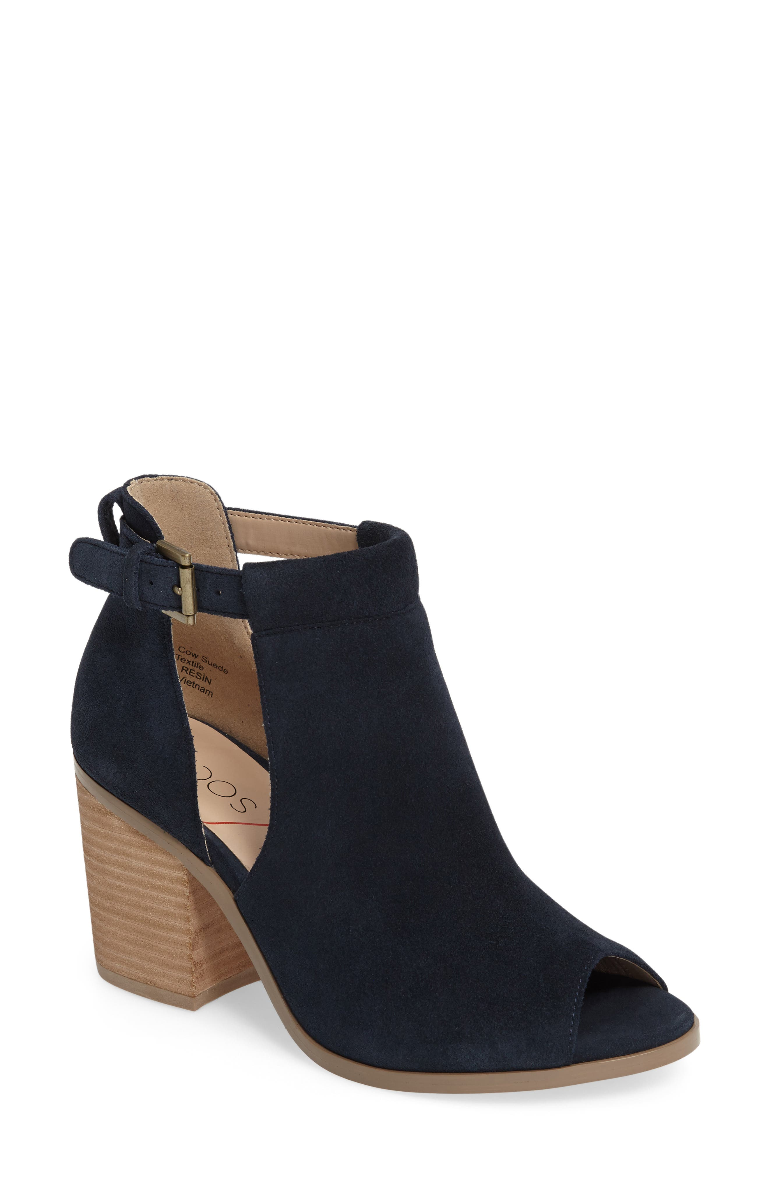 SOLE SOCIETY, 'Ferris' Open Toe Bootie, Main thumbnail 1, color, INK SUEDE