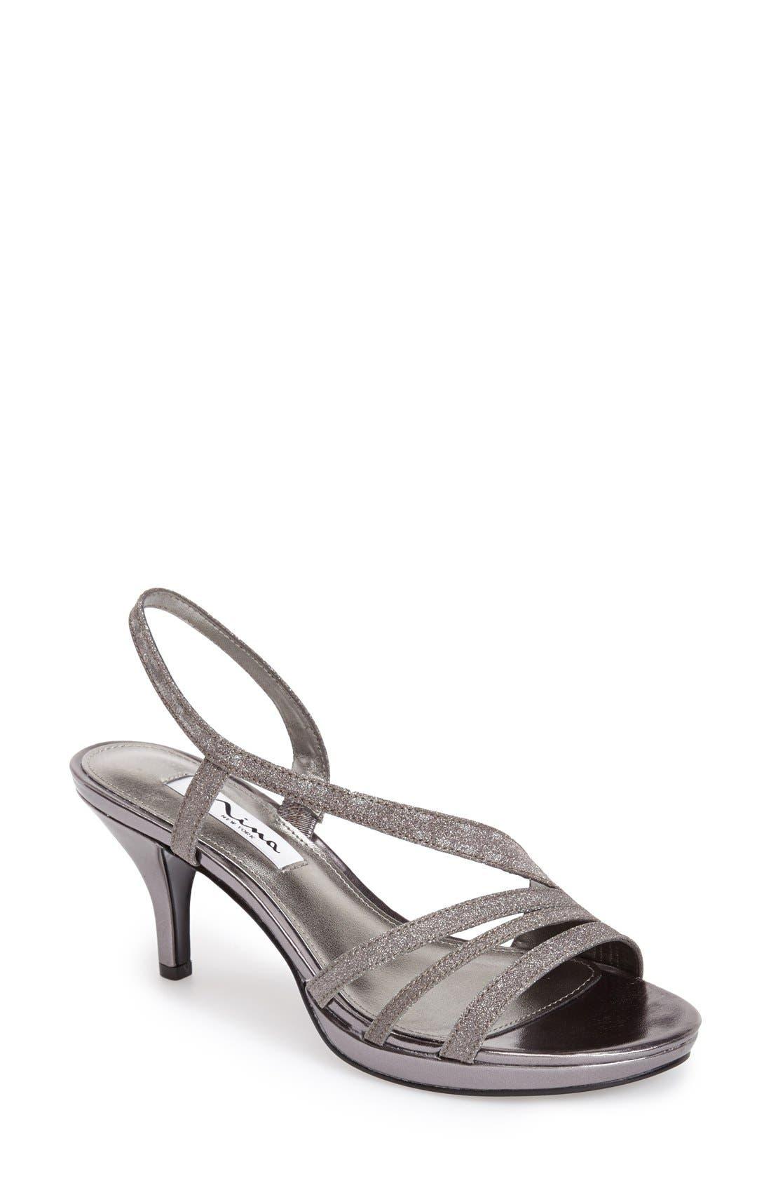 NINA, 'Neely' Slingback Platform Sandal, Main thumbnail 1, color, CHARCOAL