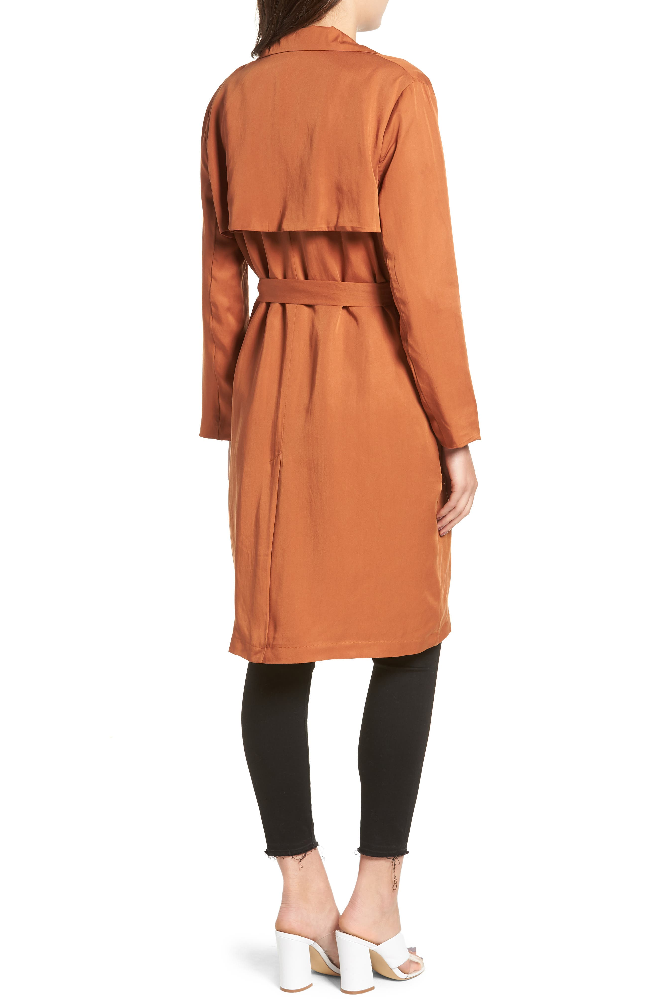 LIRA CLOTHING, Carmen Belted Trench Coat, Alternate thumbnail 2, color, BROWN