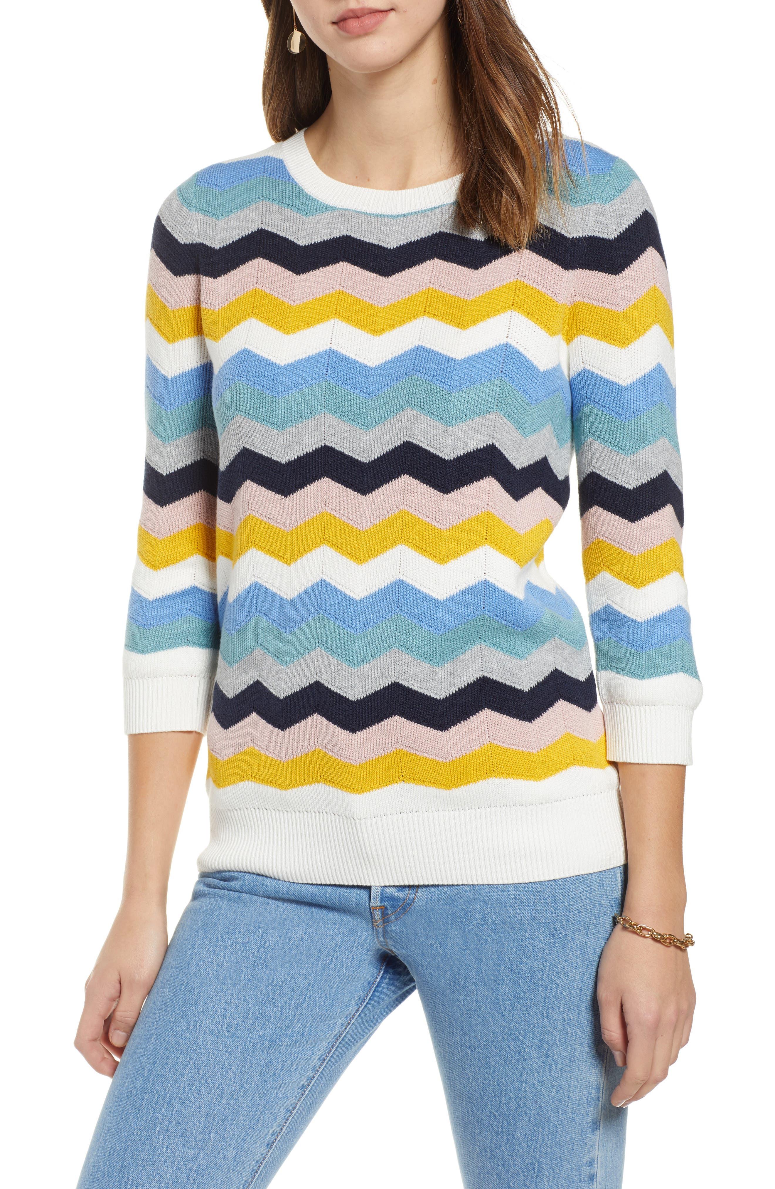 1901 Chevron Jacquard Sweater, Main, color, BLUE MULTI CHEVRON PATTERN