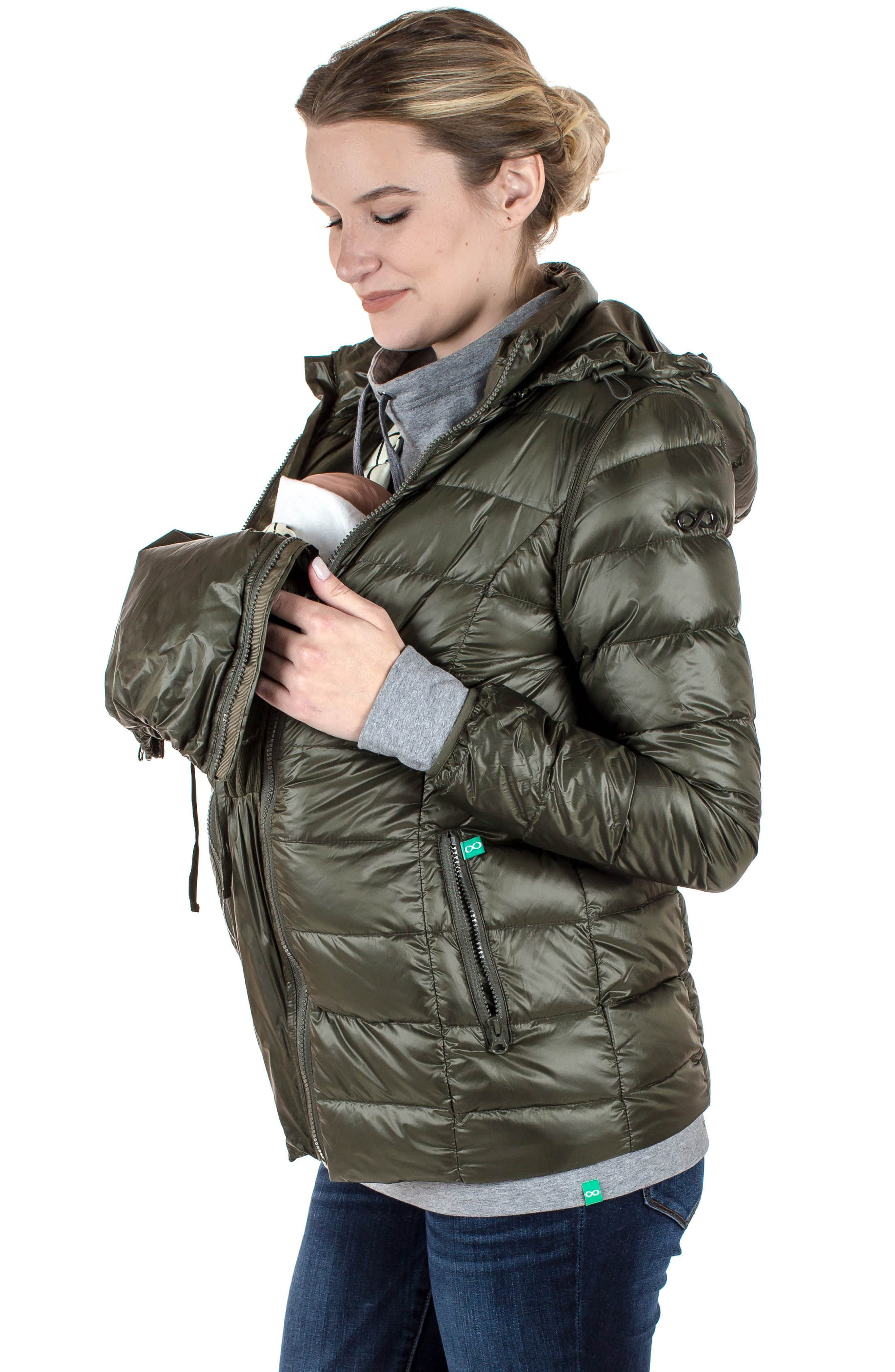 MODERN ETERNITY, Lightweight Puffer Convertible 3-in-1 Maternity Jacket, Alternate thumbnail 14, color, KHAKI GREEN