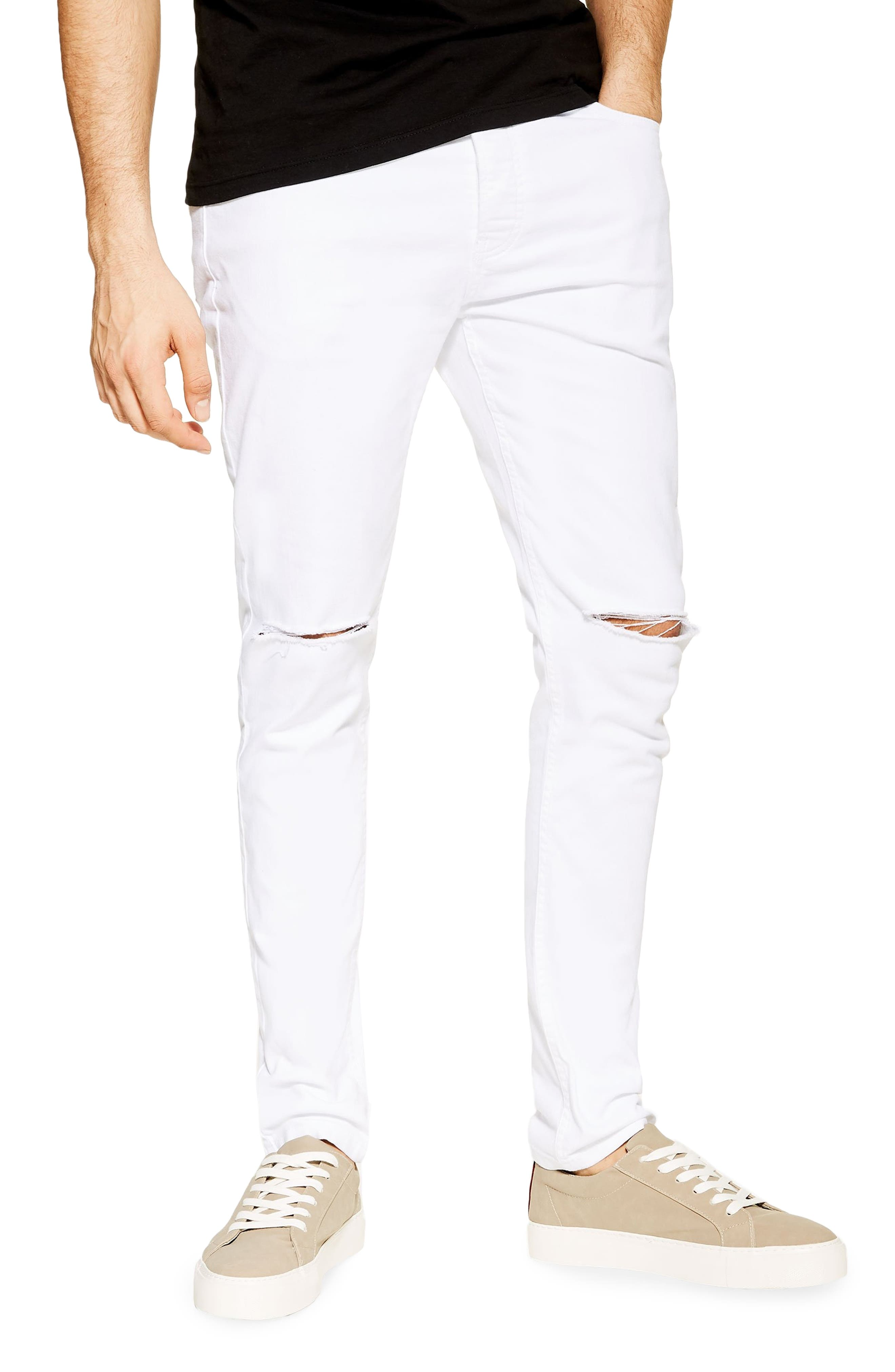 TOPMAN, Ripped Stretch Skinny Fit Jeans, Main thumbnail 1, color, WHITE