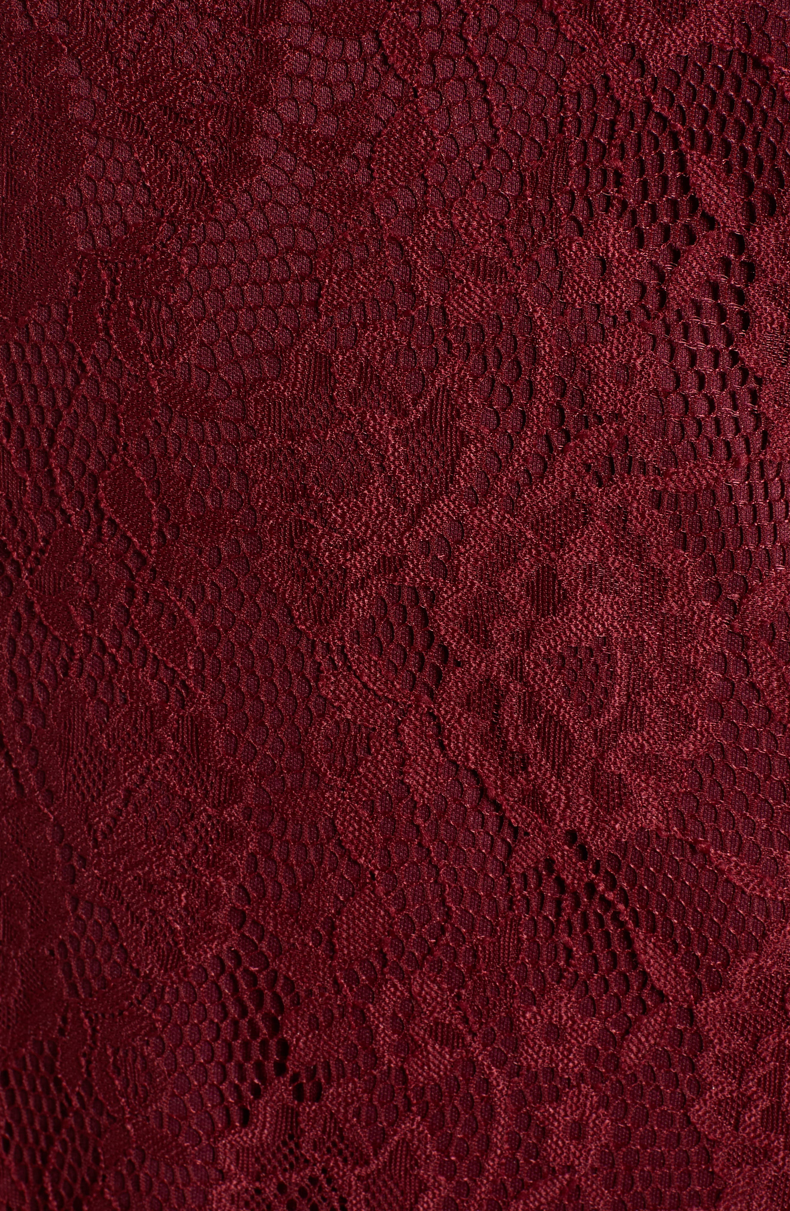 SPEECHLESS, Lace Cap Sleeve Sheath, Alternate thumbnail 6, color, WINE