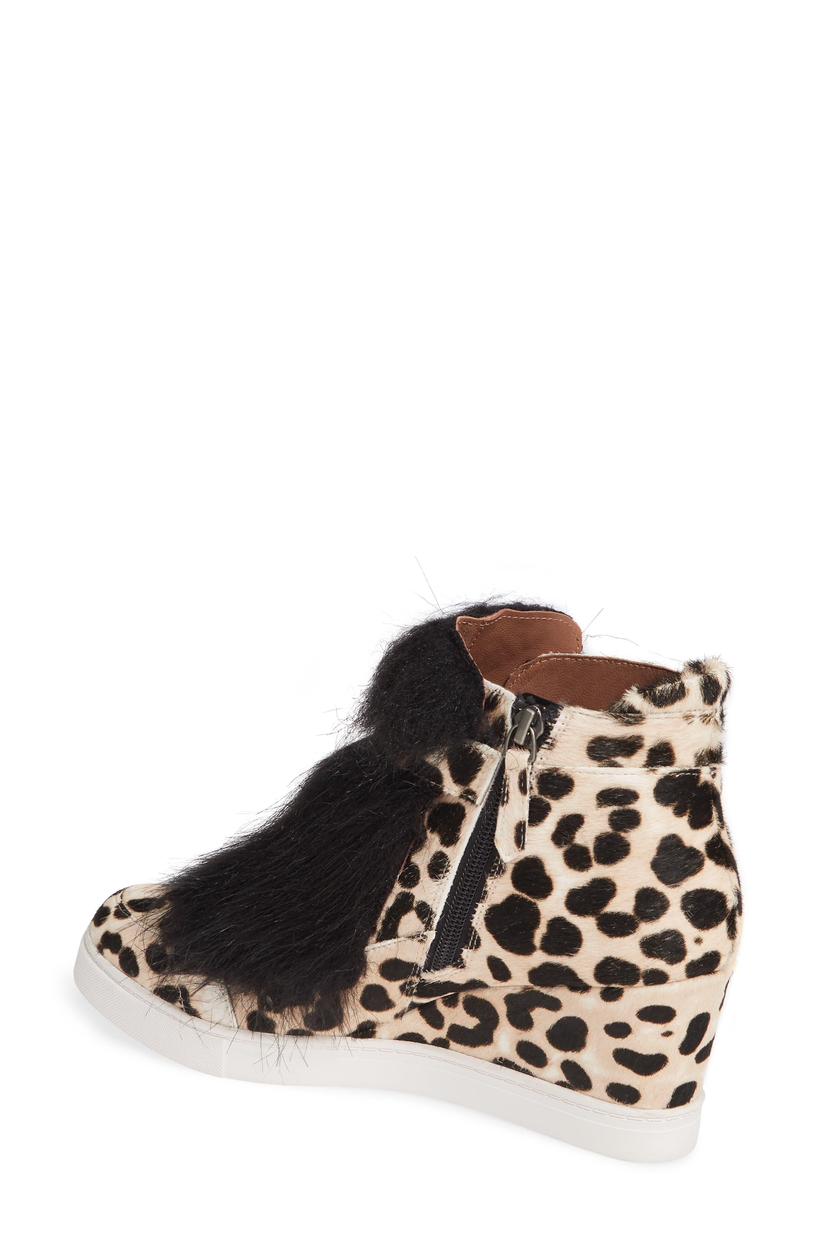 LINEA PAOLO, Fifi 2 Wedge Sneaker, Alternate thumbnail 2, color, WHITE/ BLACK LEOPARD HAIRCALF