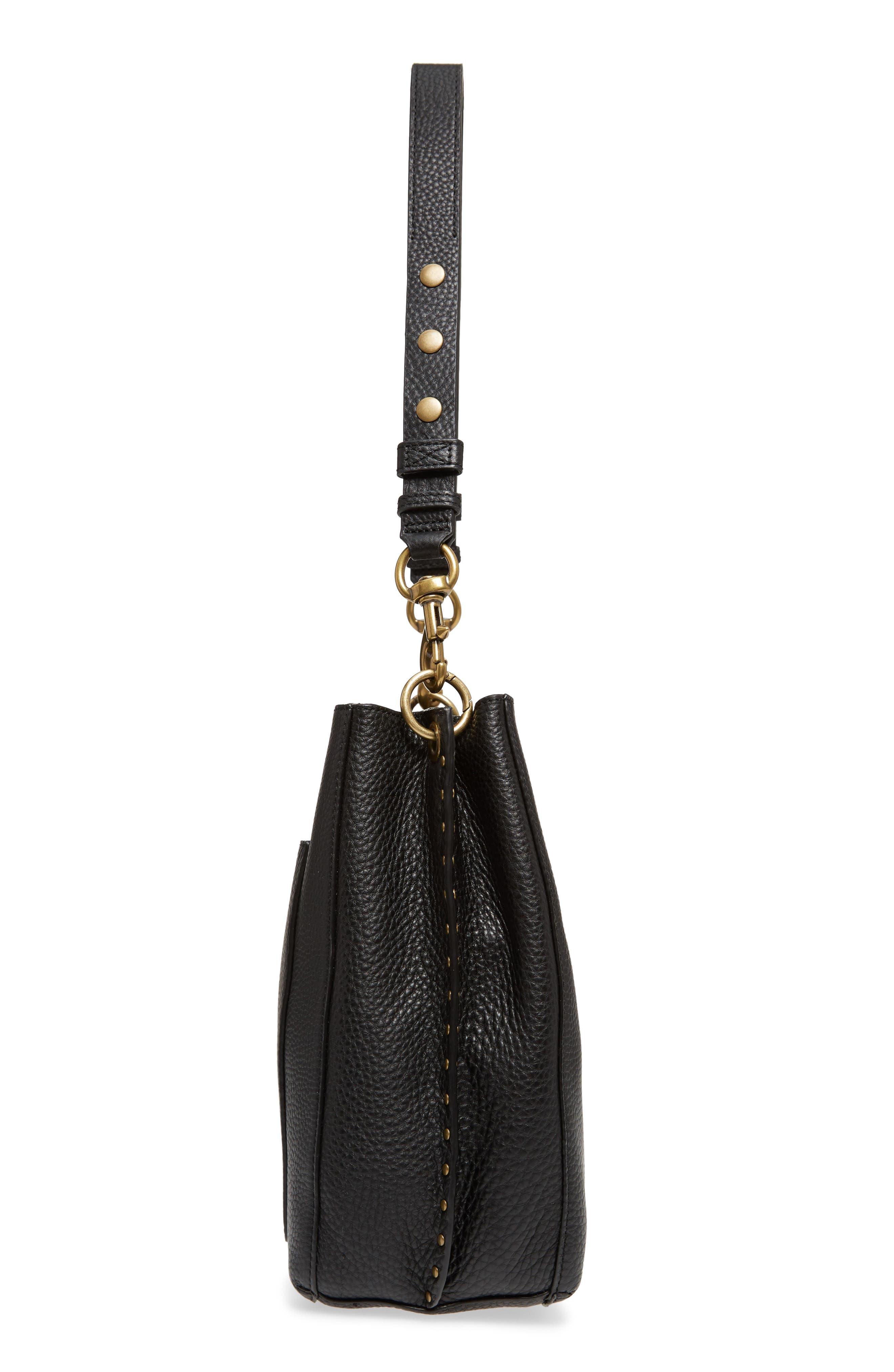 REBECCA MINKOFF, Darren Deerskin Leather Shoulder Bag, Alternate thumbnail 6, color, BLACK