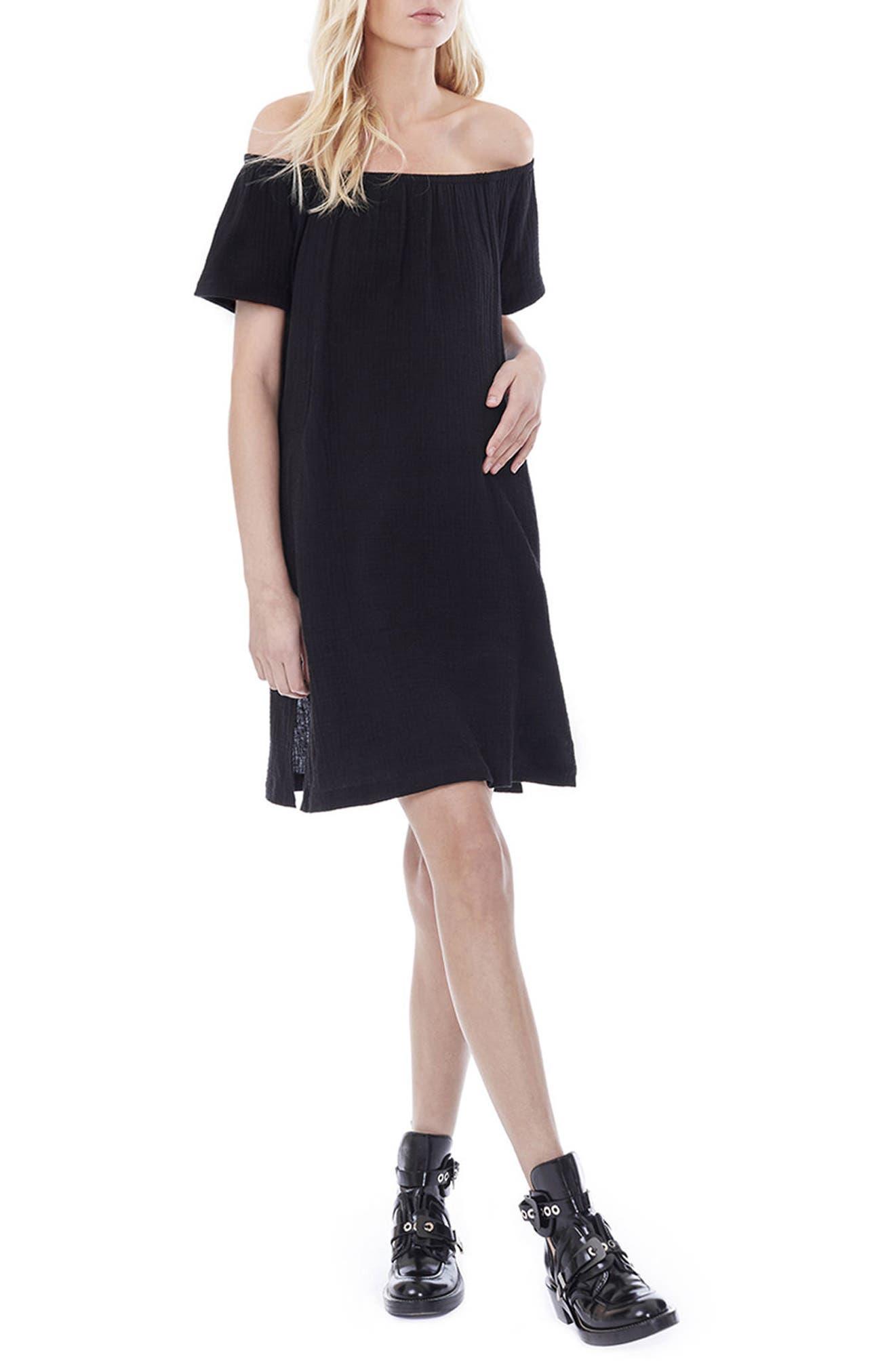 LOYAL HANA, Ariel Off The Shoulder Maternity/Nursing Dress, Main thumbnail 1, color, BLACK