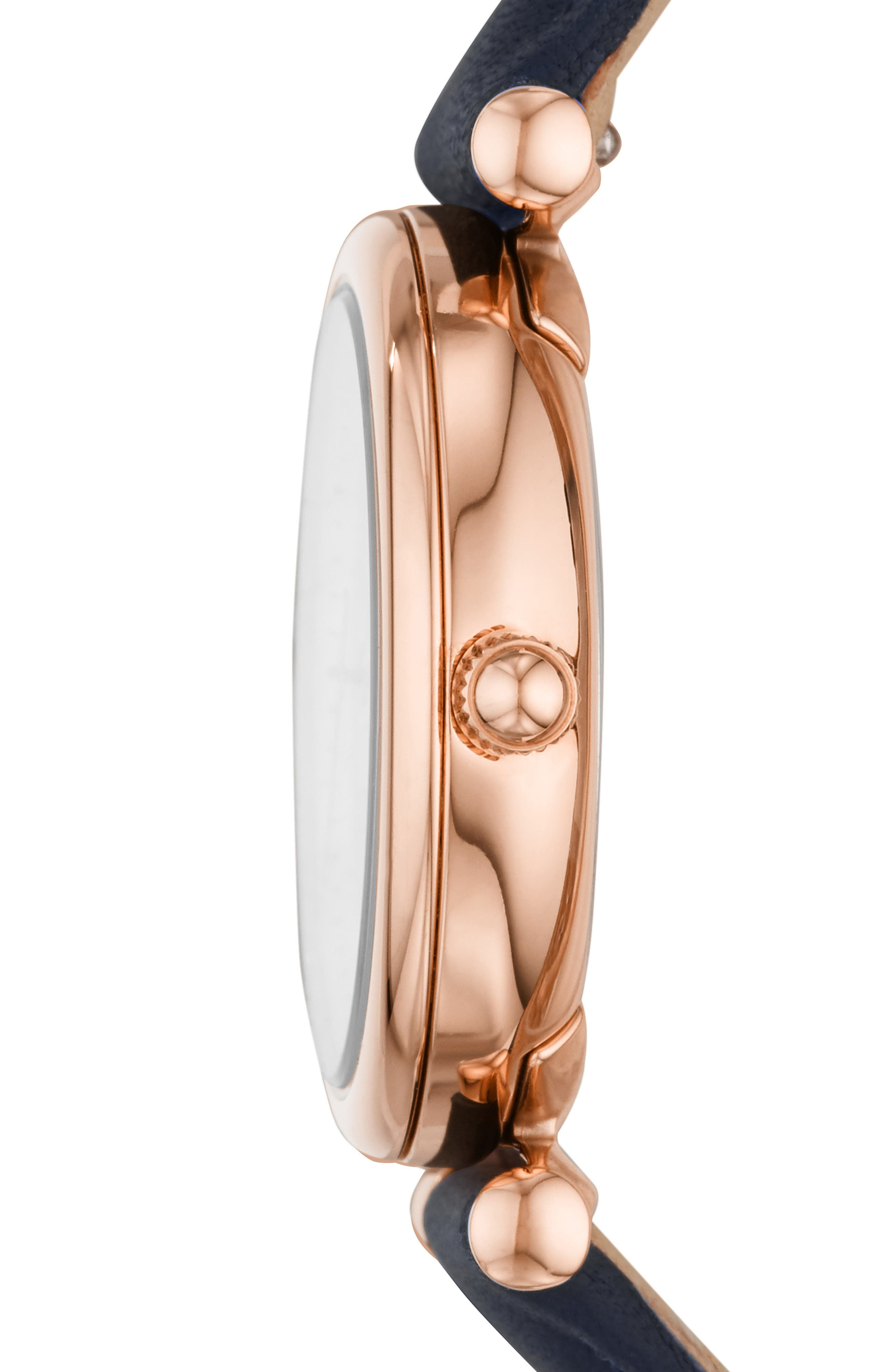 FOSSIL, Mini Carlie Star Leather Strap Watch, 28mm, Alternate thumbnail 2, color, NAVY/ WHITE MOP/ ROSE GOLD