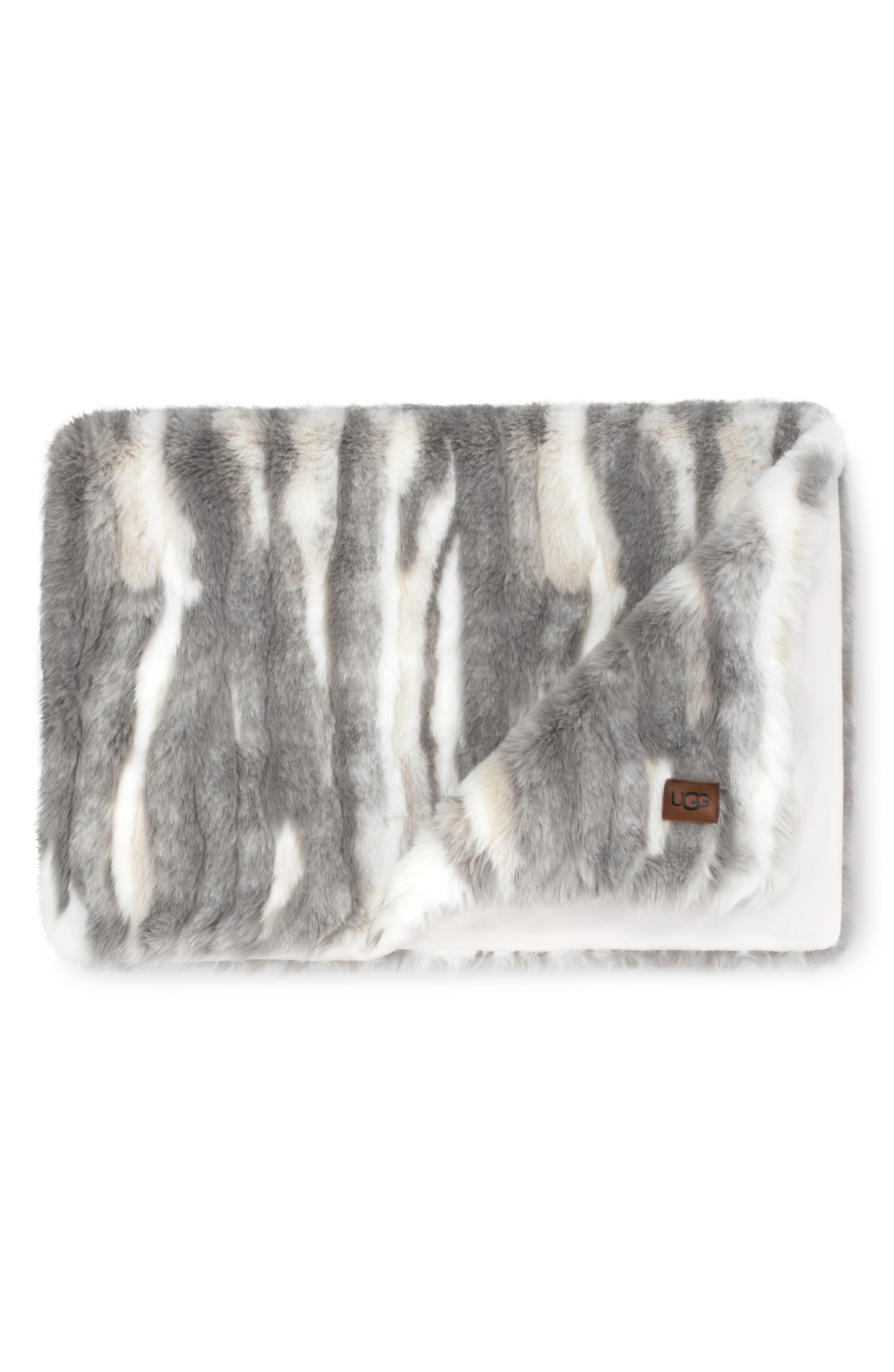 UGG<SUP>®</SUP> Marina Faux Fur Throw, Main, color, 020