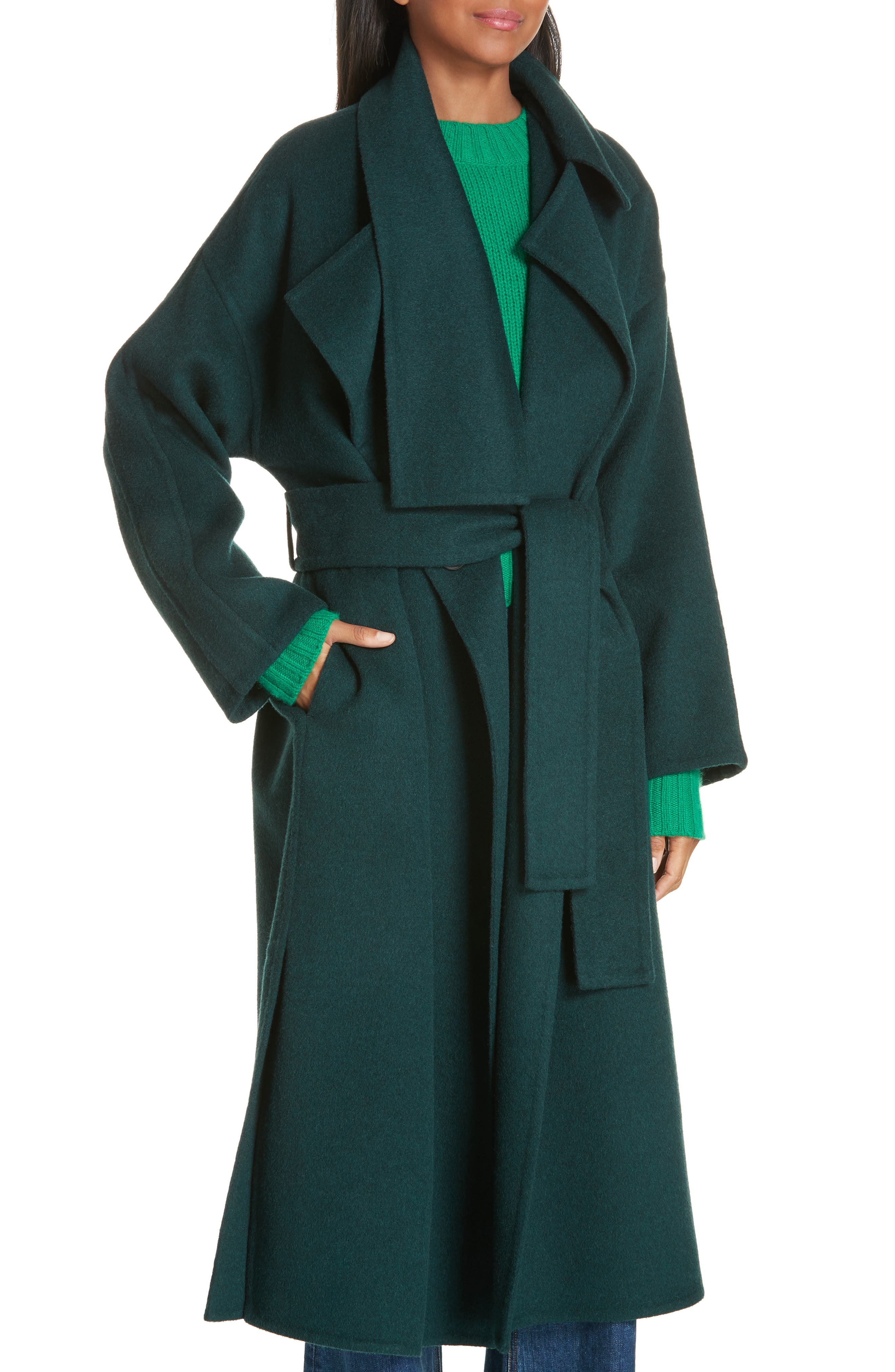 VINCE, Belted Wool Blend Cozy Coat, Alternate thumbnail 5, color, DARK PALM