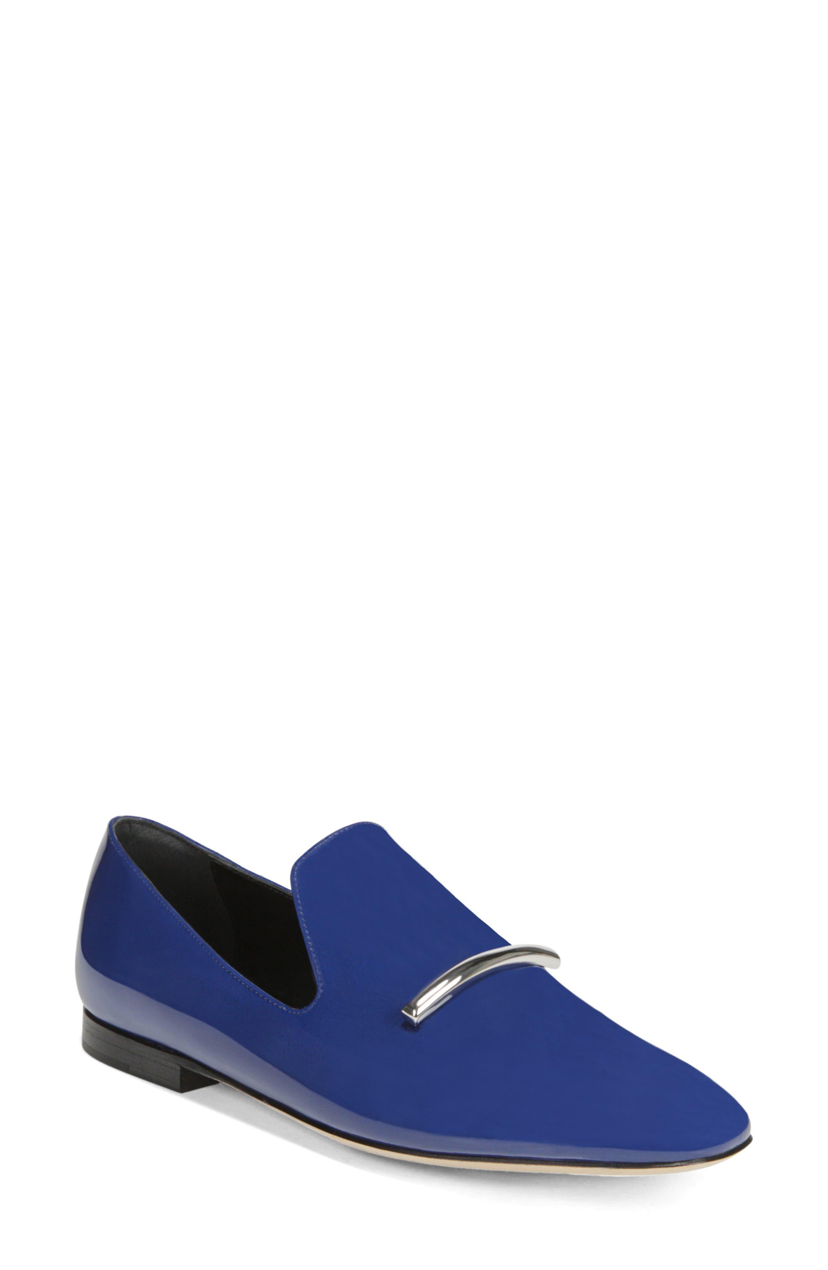 VIA SPIGA, Tallis Flat Loafer, Main thumbnail 1, color, POP BLUE