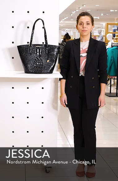 Medium Bowie Croc Embossed Leather Tote, sales video thumbnail