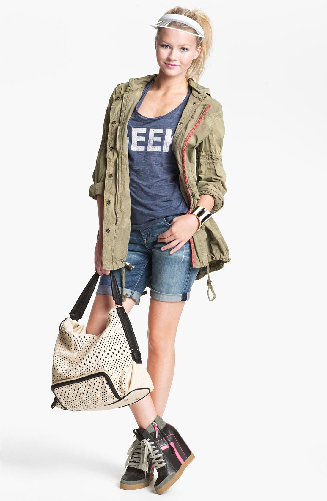POVERTY FLATS BY RIAN, Perforated Faux Leather Shoulder Bag, Alternate thumbnail 5, color, 001
