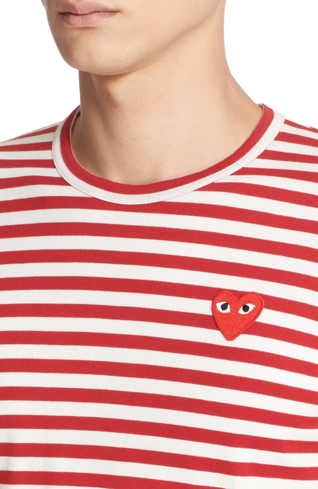 COMME DES GARÇONS PLAY, Stripe Long Sleeve T-Shirt, Alternate thumbnail 5, color, RED/ WHITE
