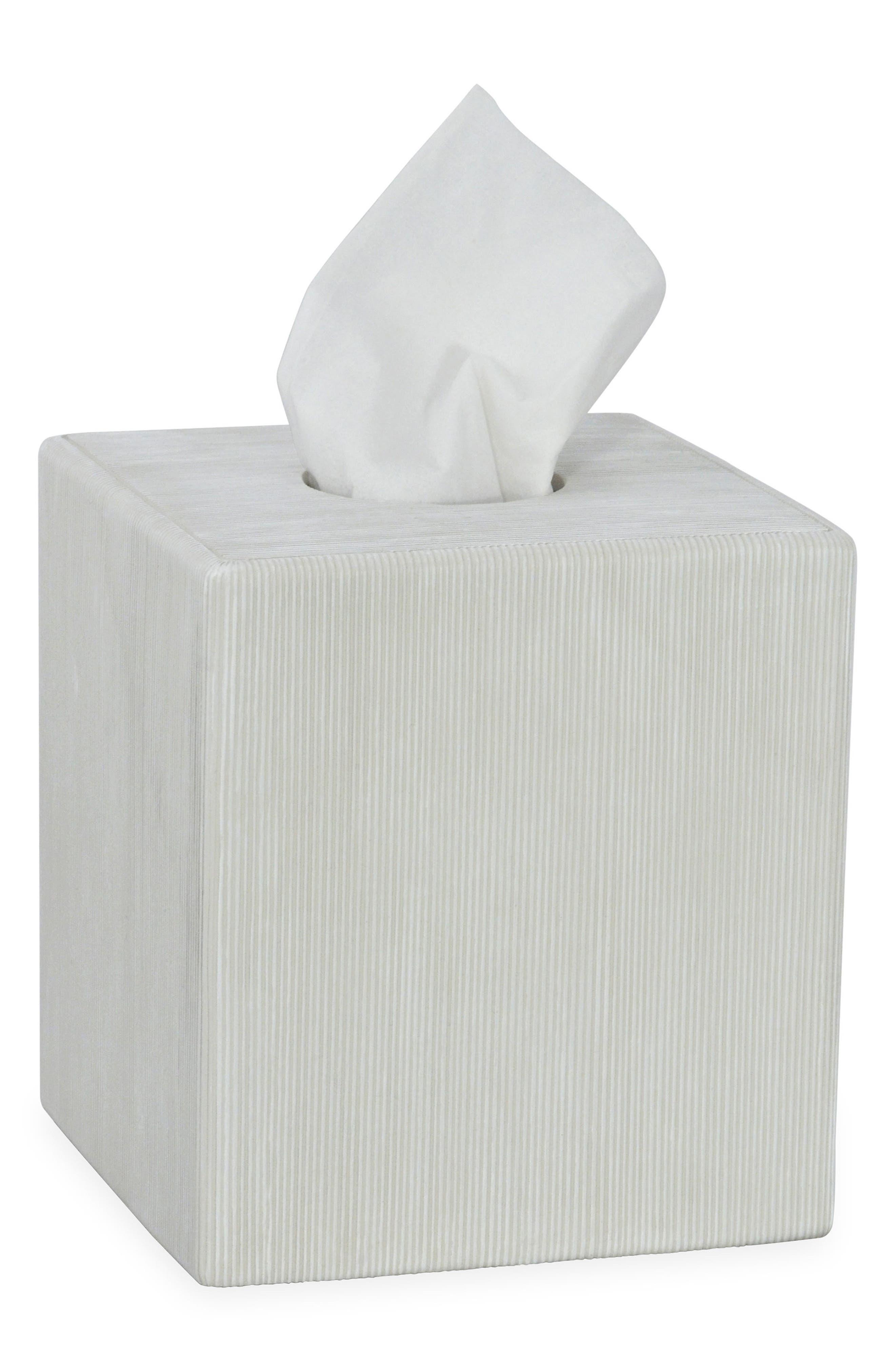 DKNY Fine Lines Ceramic Tissue Box Cover, Main, color, WHITE
