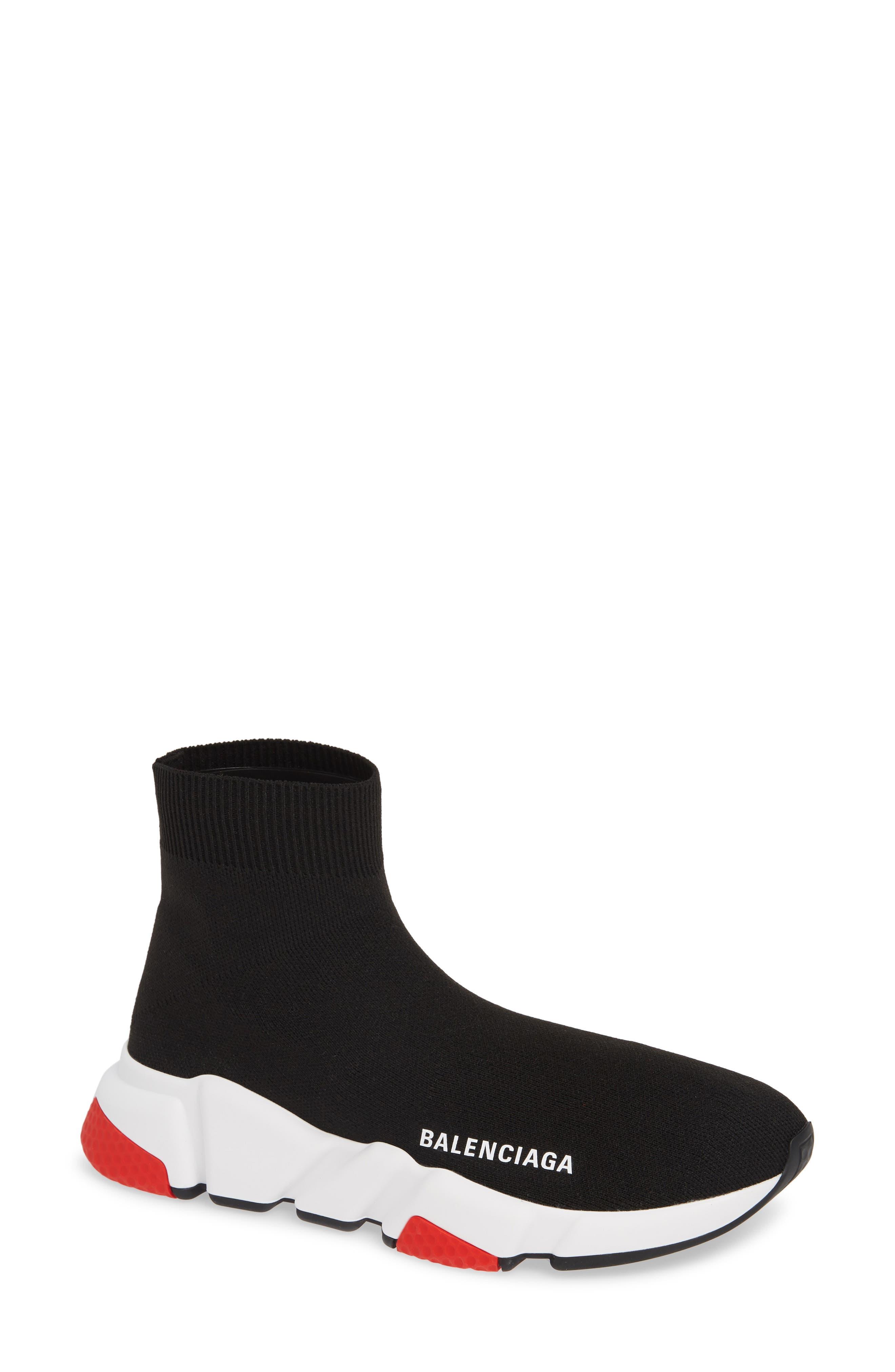 BALENCIAGA, Speed Knit Sneaker, Main thumbnail 1, color, BLACK/ RED