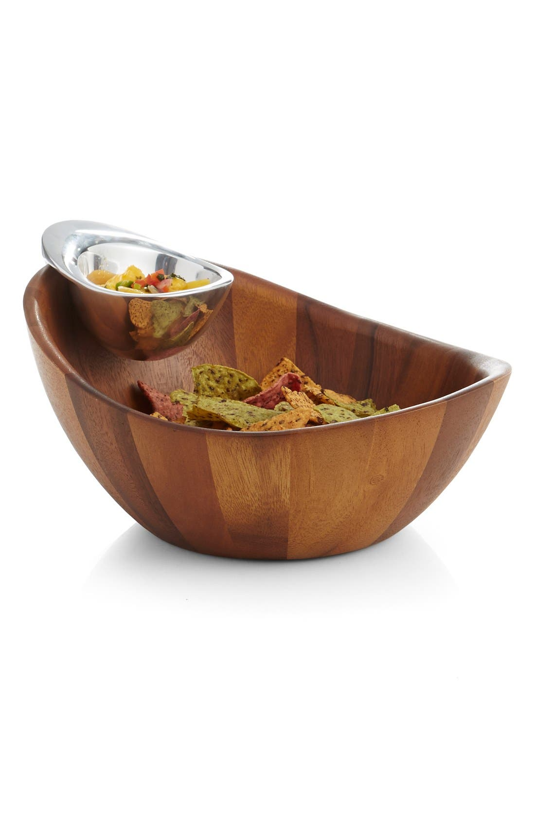 NAMBÉ, Harmony Chip & Dip Bowl, Main thumbnail 1, color, BROWN