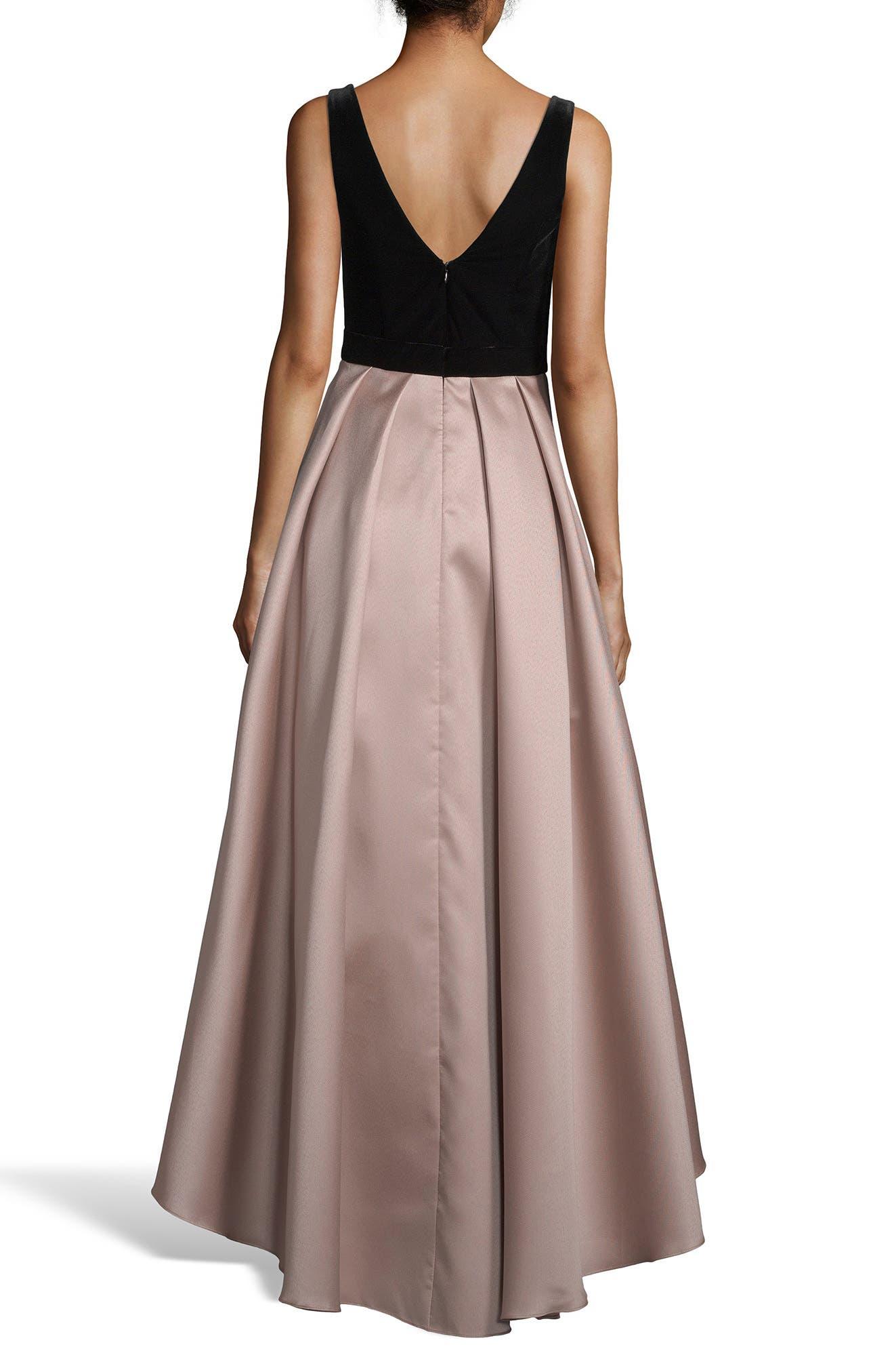 XSCAPE, Mikado Velvet Bodice Ball Gown, Alternate thumbnail 2, color, 250
