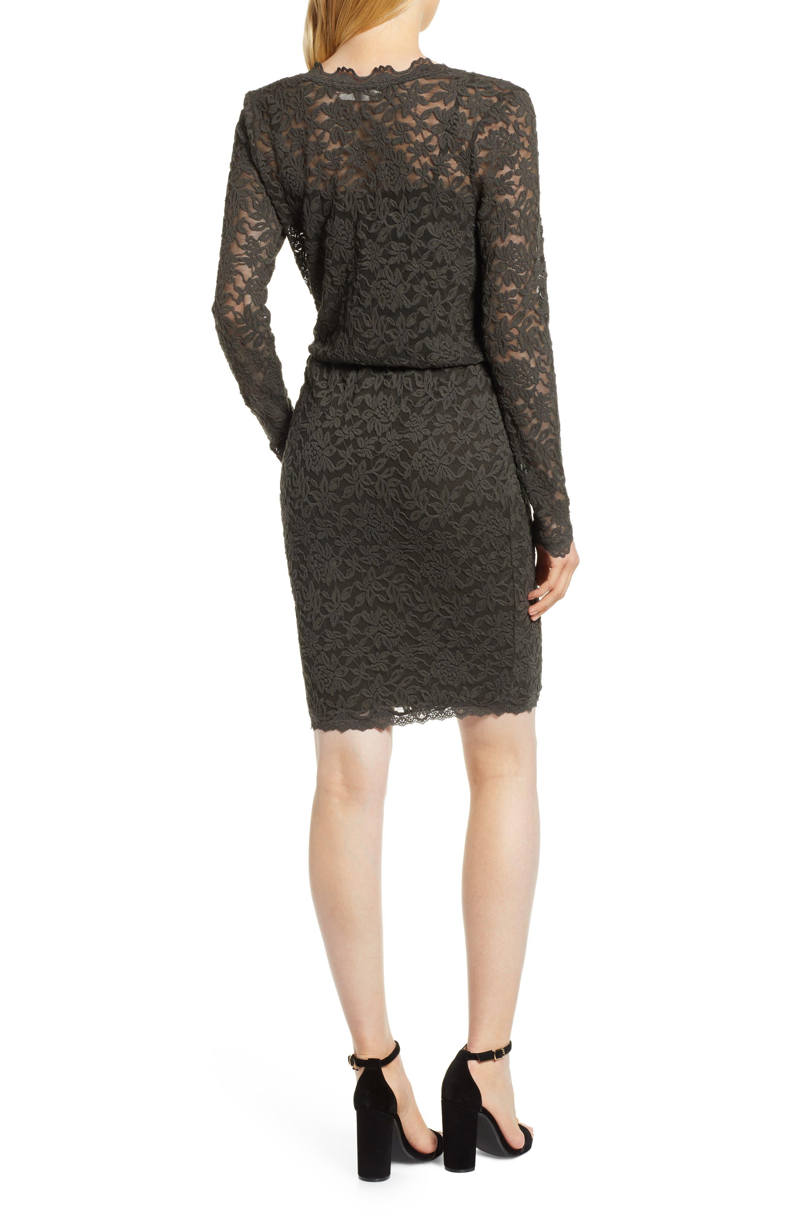 ROSEMUNDE, Delicia Scallop Detail Cotton Blend Lace Dress, Alternate thumbnail 2, color, DARK FOREST