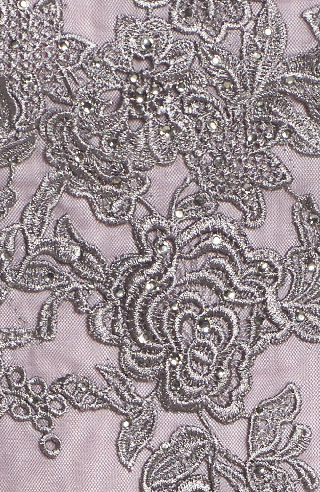 LA FEMME, Embellished Mesh A-Line Gown, Alternate thumbnail 5, color, PINK/ GRAY