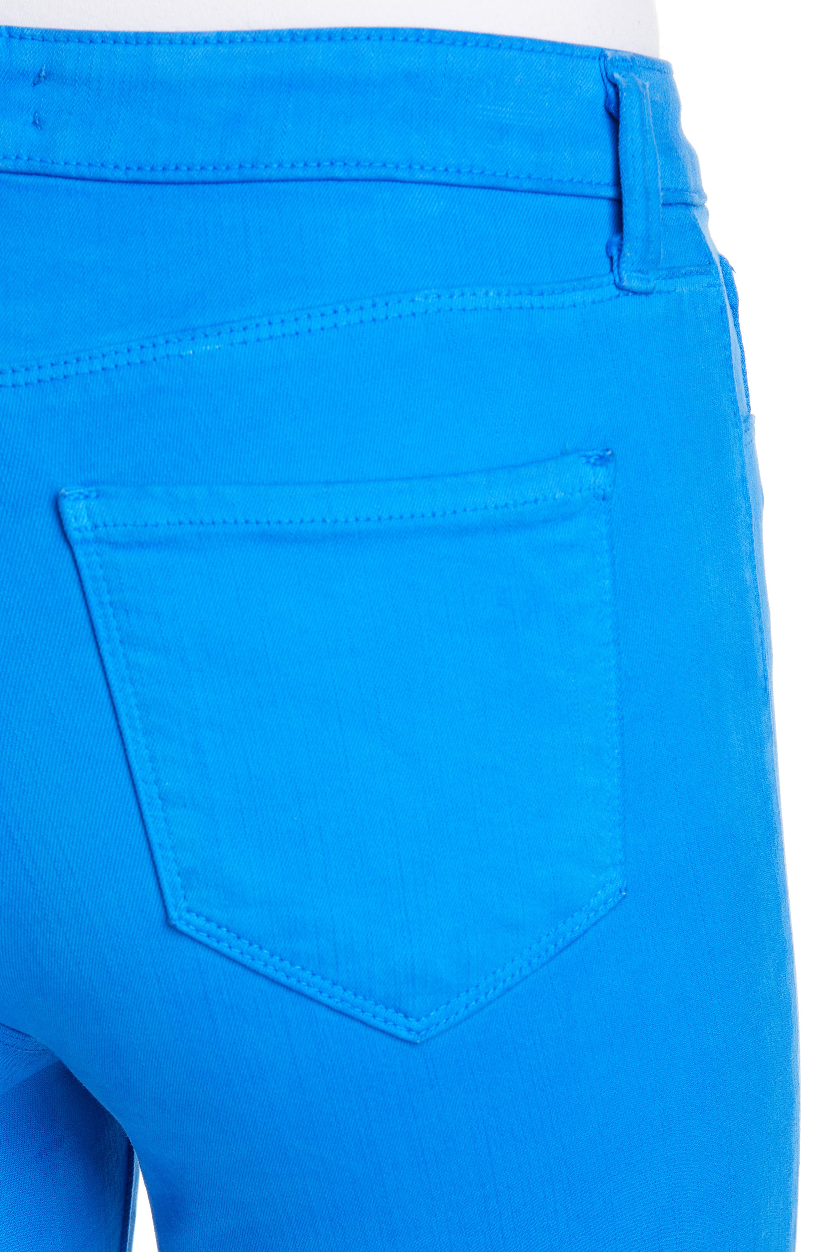 L'AGENCE, High Waist Skinny Ankle Jeans, Alternate thumbnail 5, color, RIVIERA BLUE