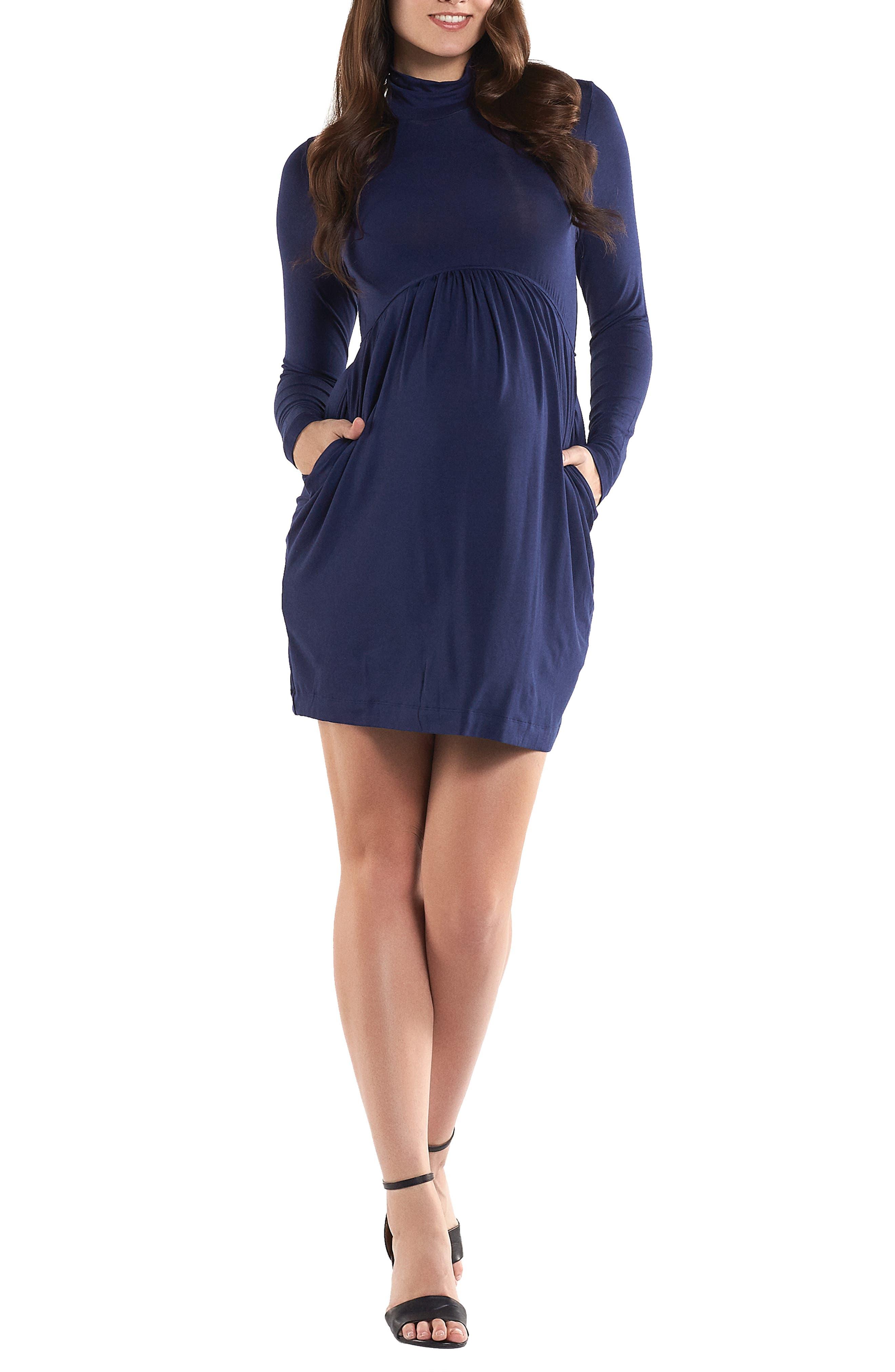 TART MATERNITY, 'Rhiannon' Turtleneck Fit & Flare Maternity Dress, Main thumbnail 1, color, PEACOAT