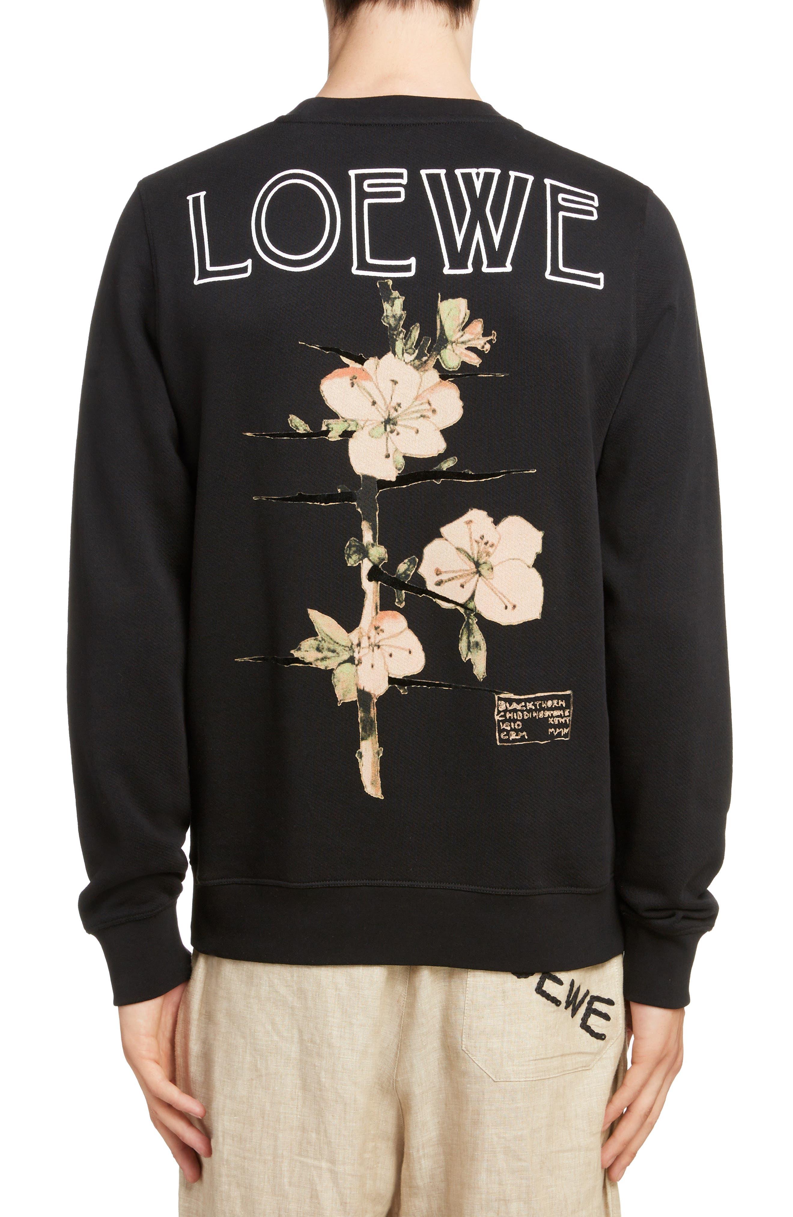 LOEWE, Charles Rennie Mackintosh Collection Botanical Print Sweatshirt, Alternate thumbnail 2, color, 1100-BLACK