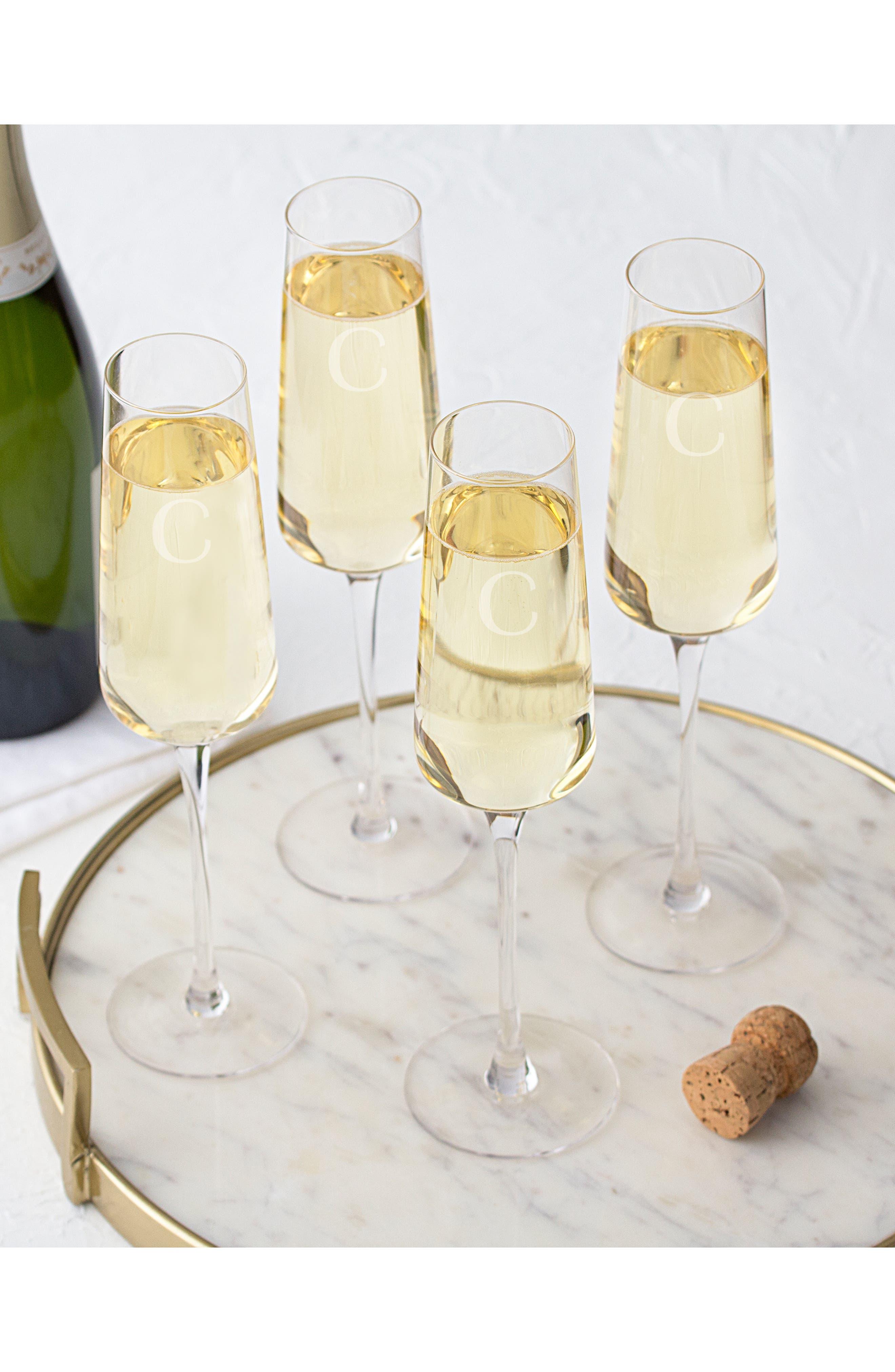 CATHY'S CONCEPTS, Estate Collection Set of 4 Monogram Champagne Flutes, Alternate thumbnail 6, color, A