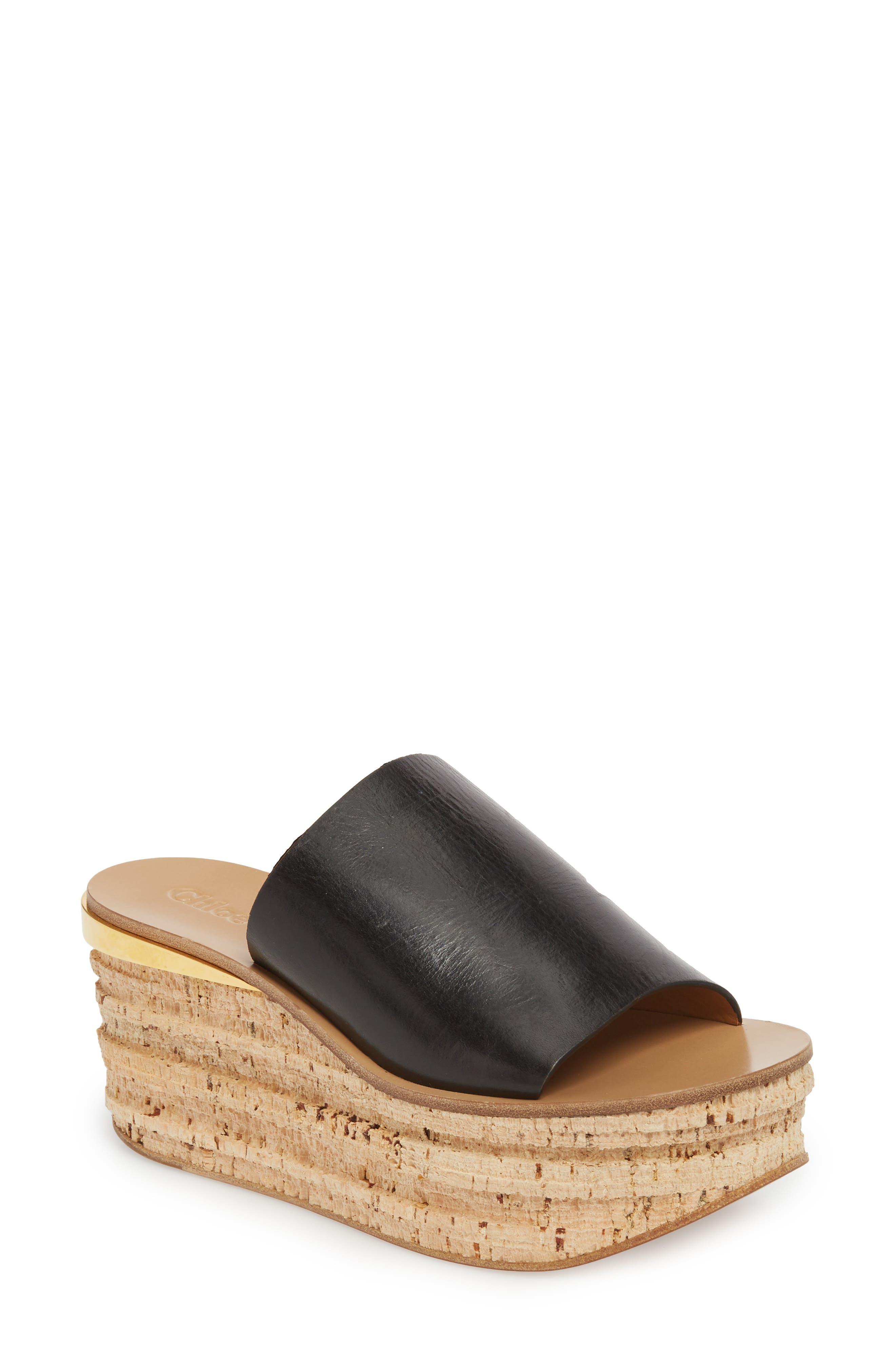 CHLOÉ, Camille Cork Platform Sandal, Main thumbnail 1, color, BLACK